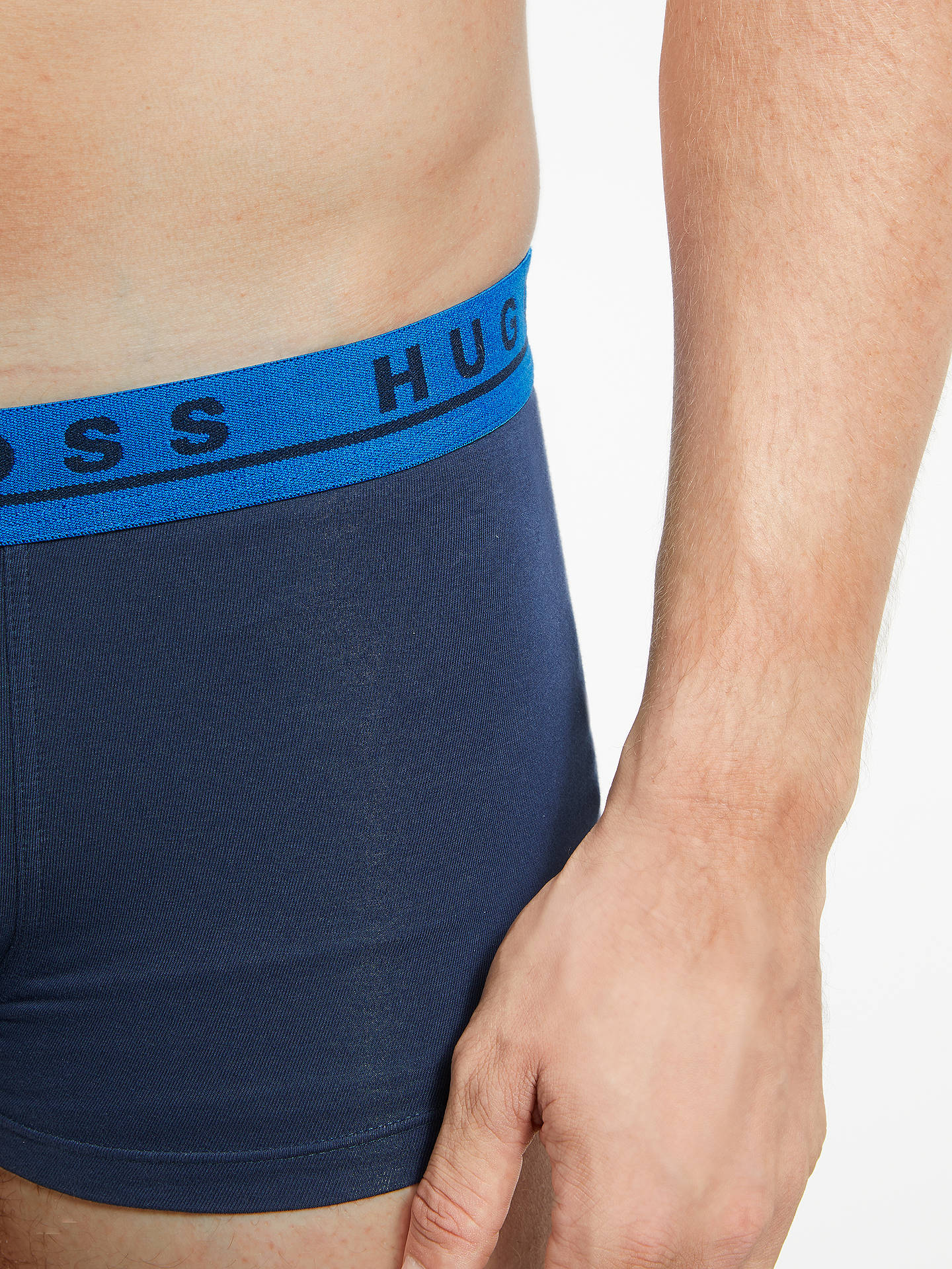 Buy BOSS Plain Contrast Waistband Trunks, Pack of 3, Navy/Blue/Yellow, M Online at johnlewis.com