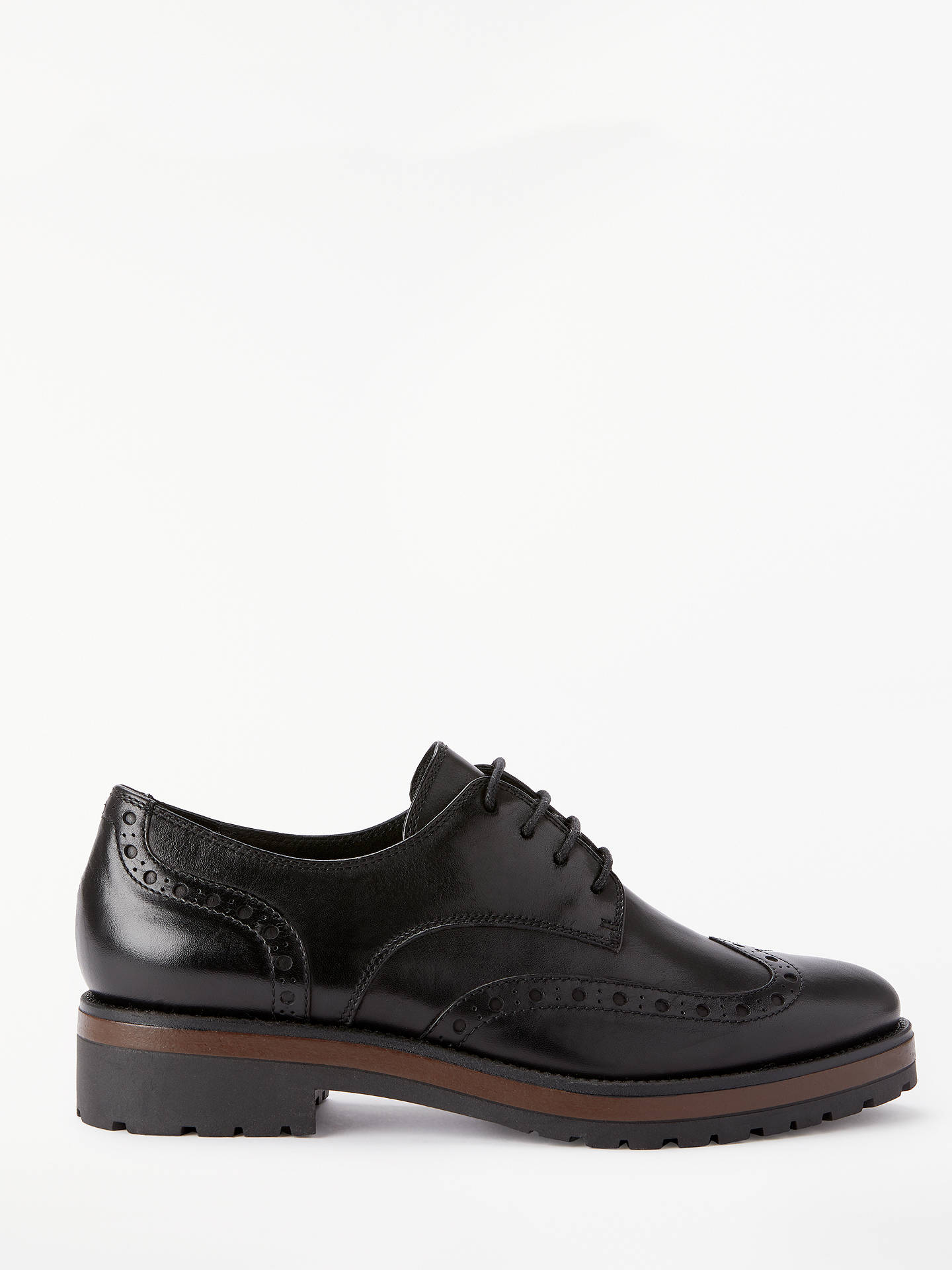 Buy John Lewis & Partners Francesca Chunky Heel Brogues, Black Leather, 3 Online at johnlewis.com
