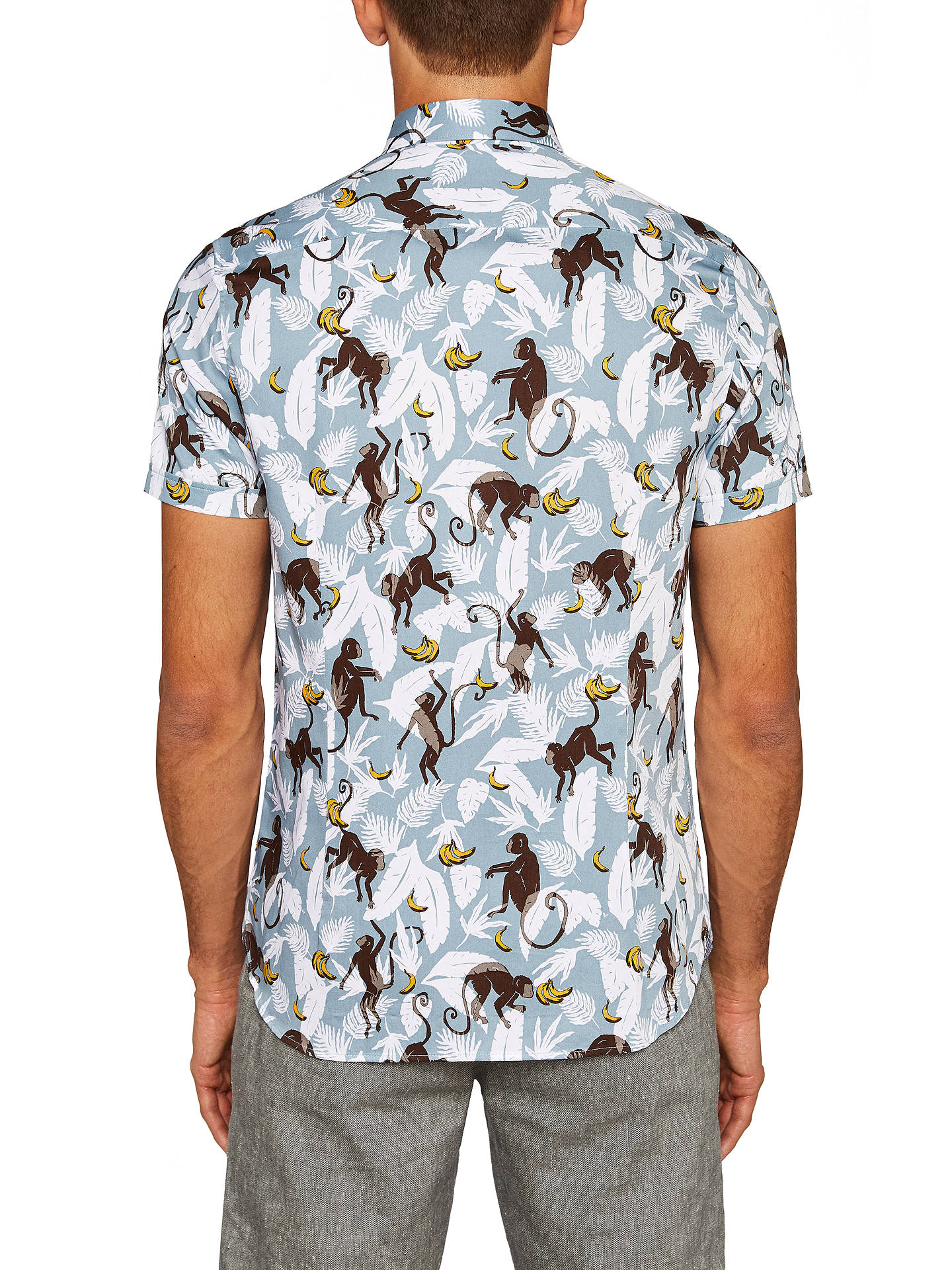 BuyTed Baker Glovers Monkey Print Cotton Shirt, Blue, 2 Online at johnlewis.com