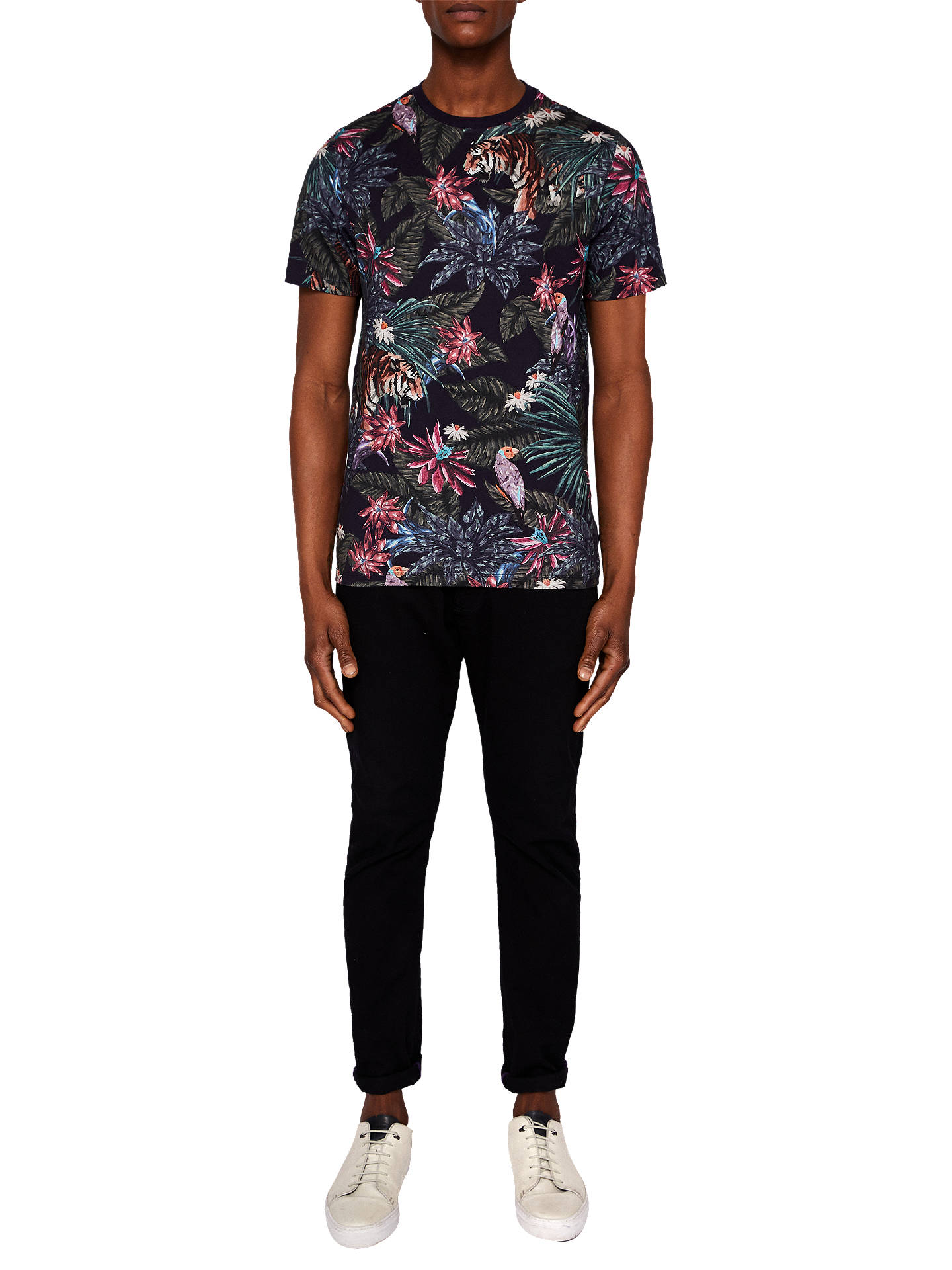 BuyTed Baker Minte Tiger Print Cotton T-Shirt, Navy, 3 Online at johnlewis.com