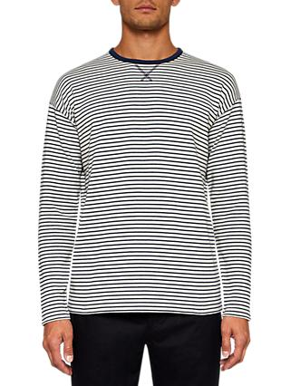 Ted Baker Sherbut Long Sleeve Stripe T-Shirt, White/Dark Blue