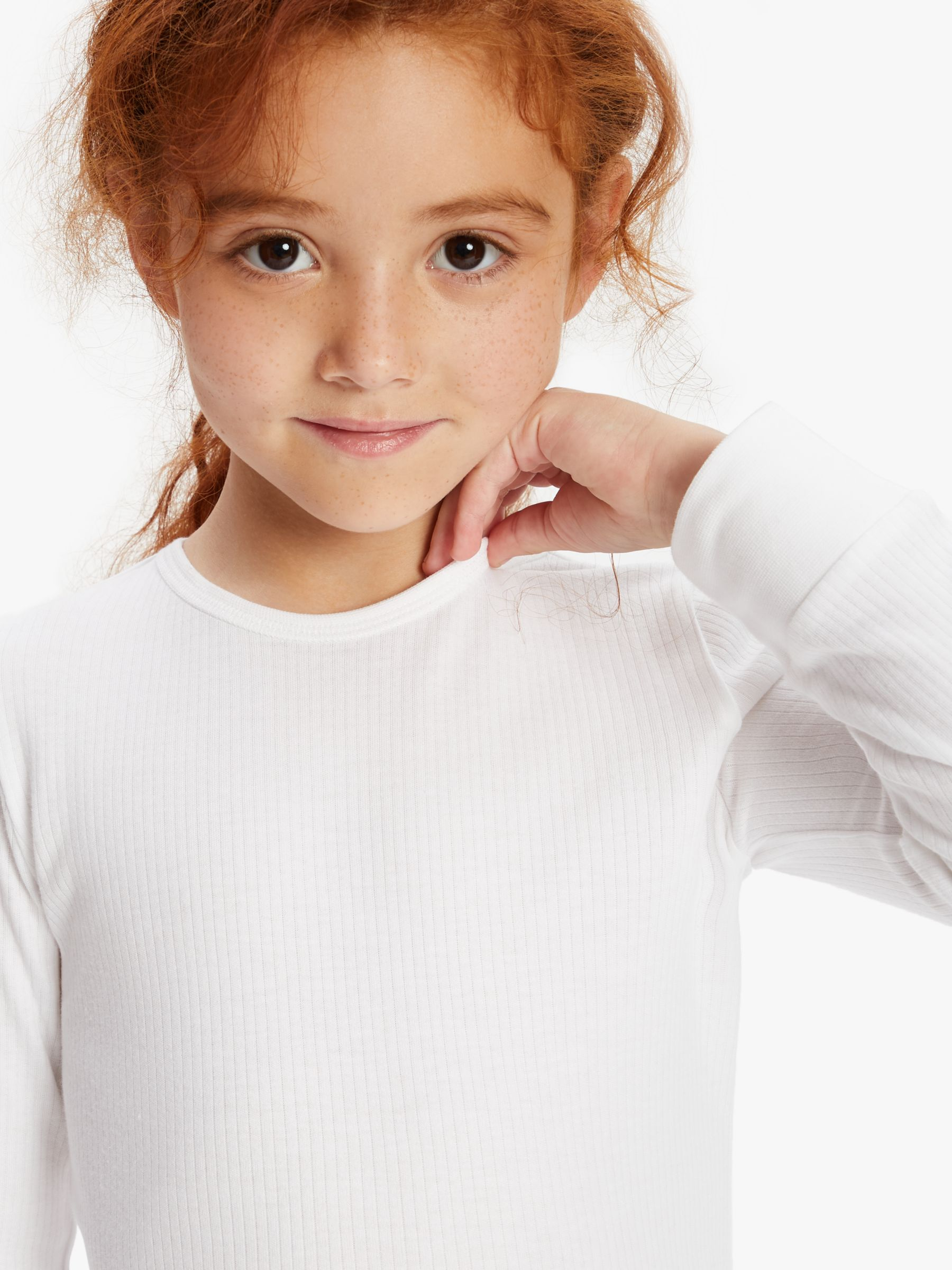 John Lewis Partners Children S Thermal Long Sleeve Top Pack Of 2 White At John Lewis Partners