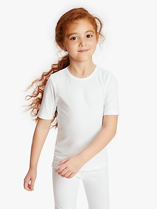 John Lewis & Partners Children's Thermal Short Sleeve Top, Pack of 2, White