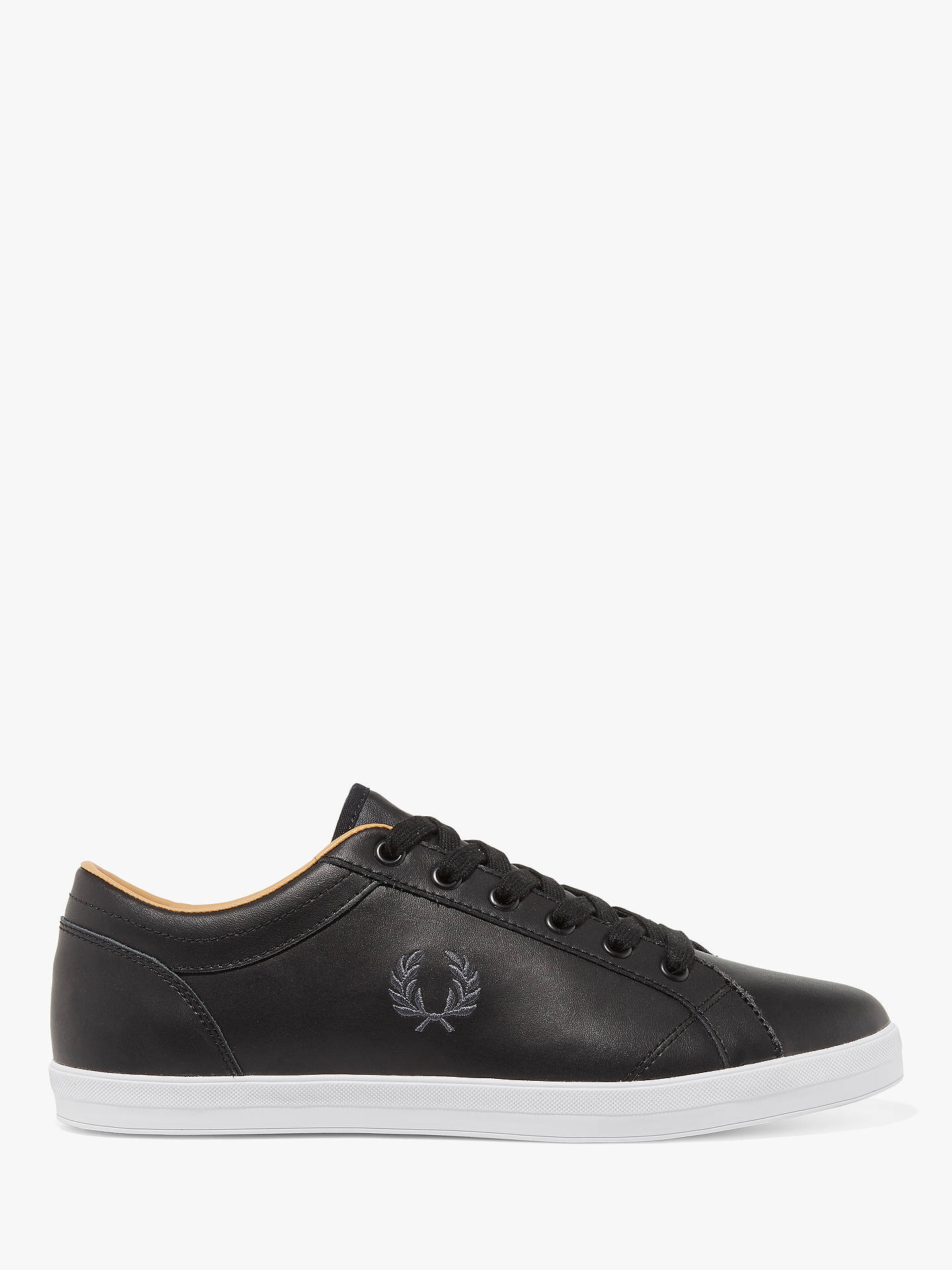 new list low priced amazon Fred Perry Baseline Leather Trainers, Black at John Lewis & Partners