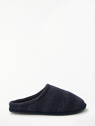 John Lewis & Partners Tonal Stripe Mule Slippers, Navy/Grey