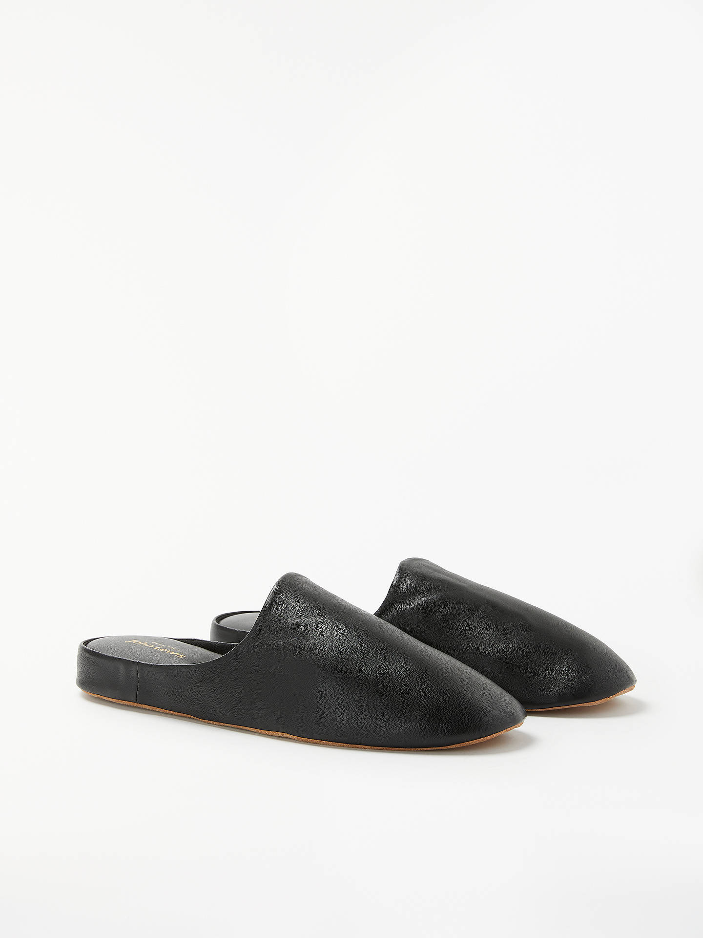 Buy John Lewis & Partners Madrid Leather Mule Slippers, Black, 9 Online at johnlewis.com