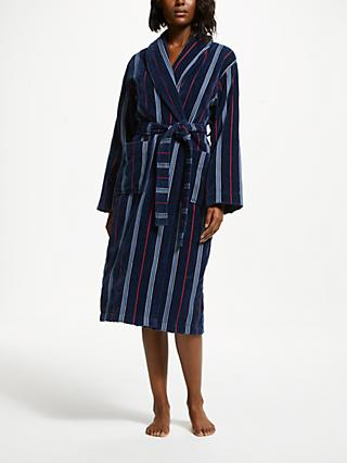 John Lewis & Partners Velour Unisex Bath Robe, Navy Stripe