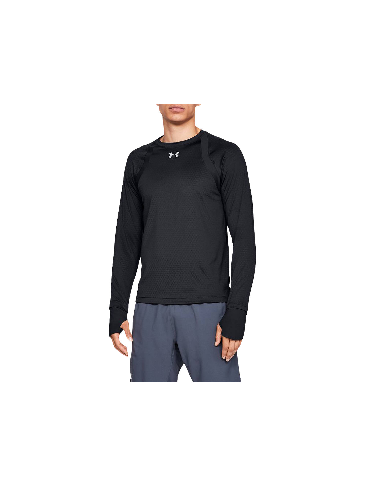 1615237d94 Under Armour Hexdelta Long Sleeve Running Top, Black/Reflective at ...