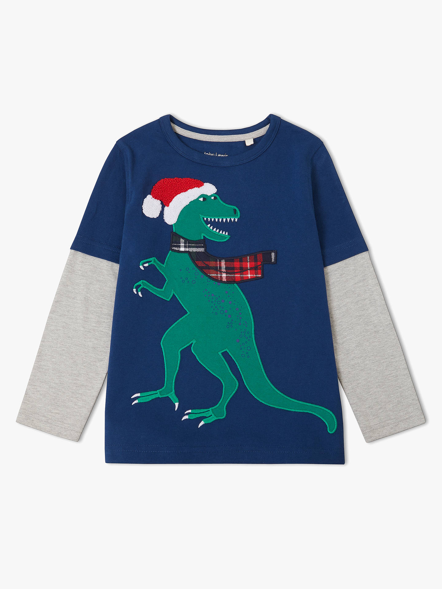 0f3f7e1c9 John Lewis   Partners Boys  Dinosaur Graphic Mock Long Sleeve T ...