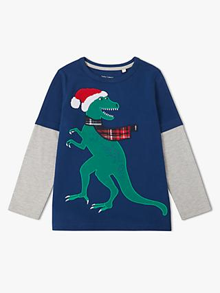 John Lewis & Partners Boys' Dinosaur Graphic Mock Long Sleeve T-Shirt, Multi