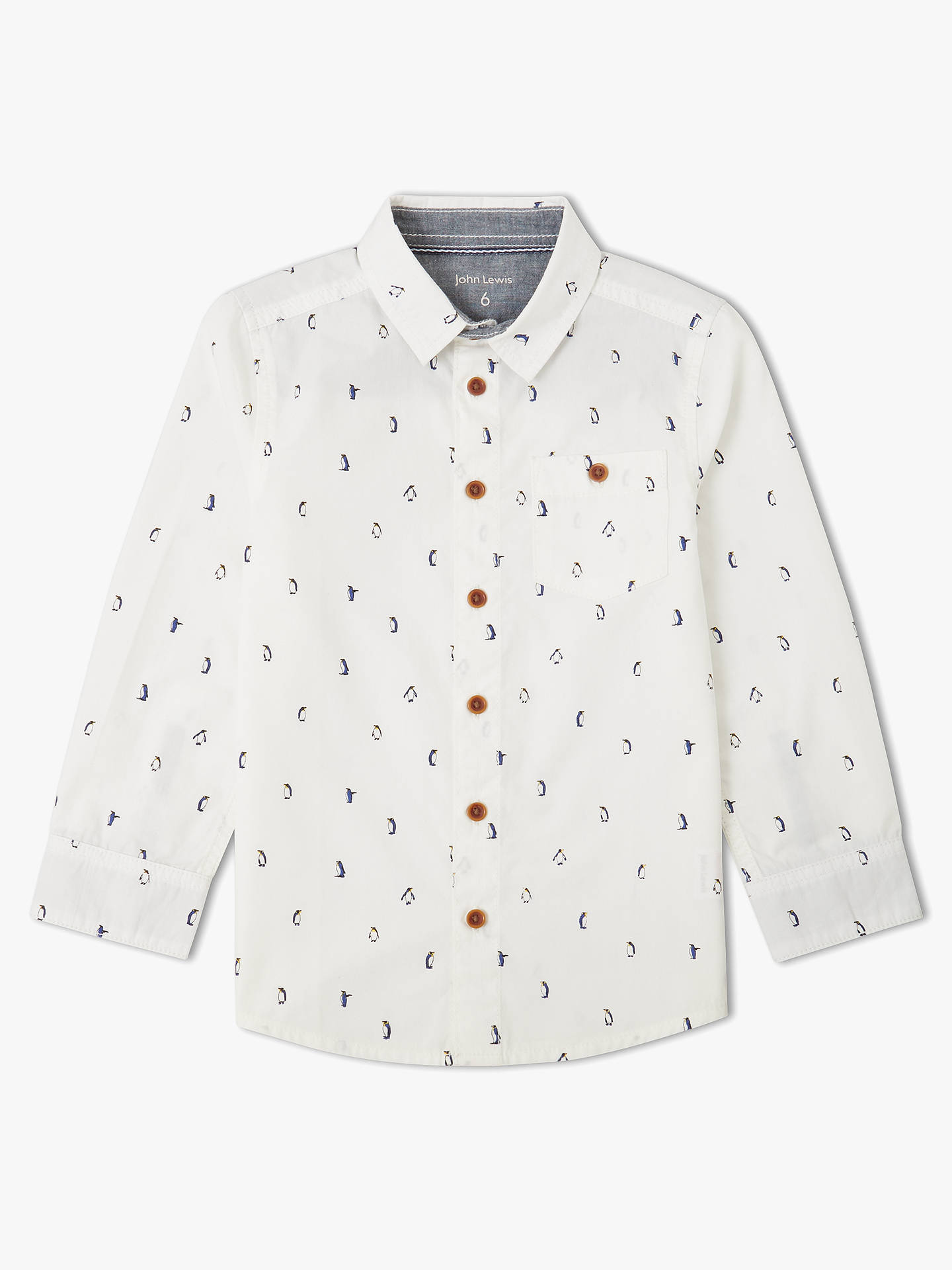 5026669b6 Buy John Lewis & Partners Boys' Penguin Print Shirt, Cream, 2 years Online  ...