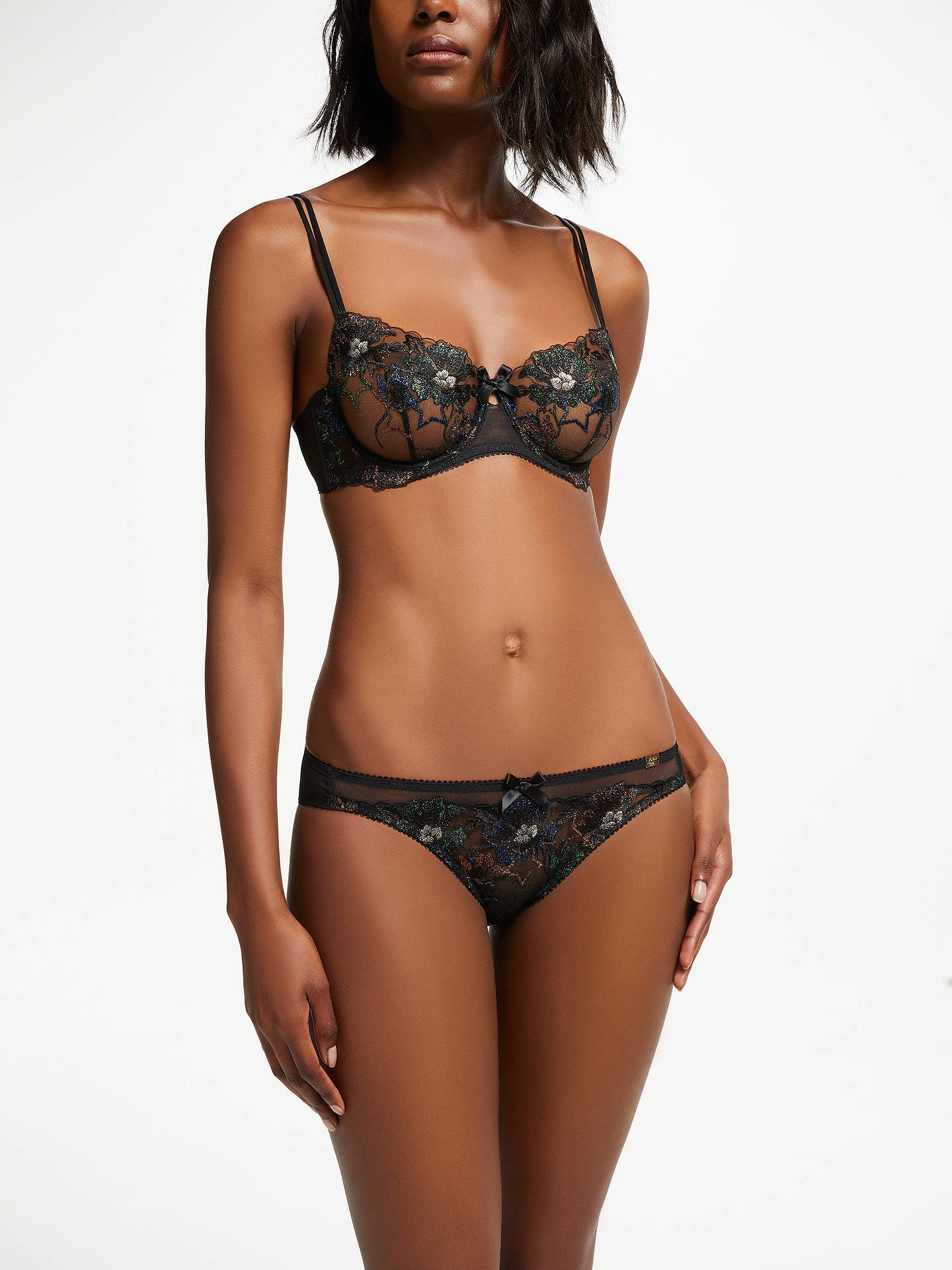 Buy AND/OR Harper Embroidered Star Floral Bikini Briefs, Black/Multi, 10 Online at johnlewis.com