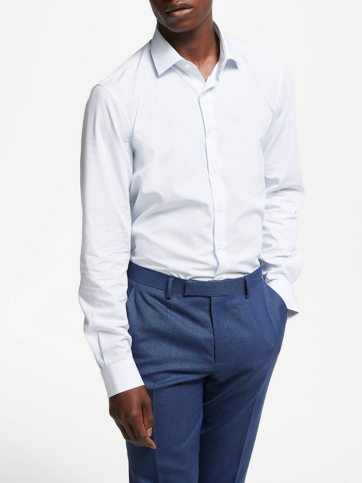 BuyCalvin Klein Check Slim Fit Shirt, White/Blue, 17 Online at johnlewis.com