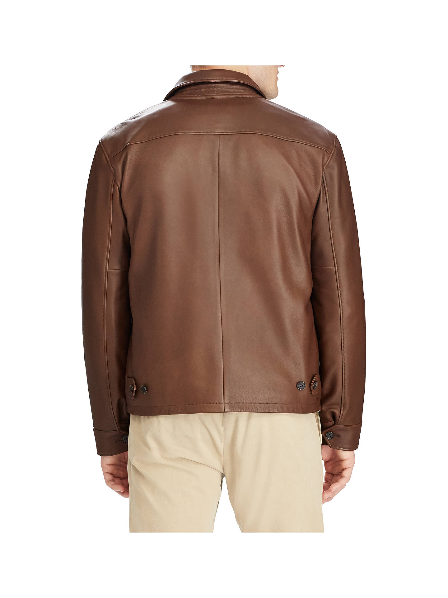 Buy Polo Ralph Lauren Maxwell Leather Jacket, Bison Brown, XL Online at johnlewis.com
