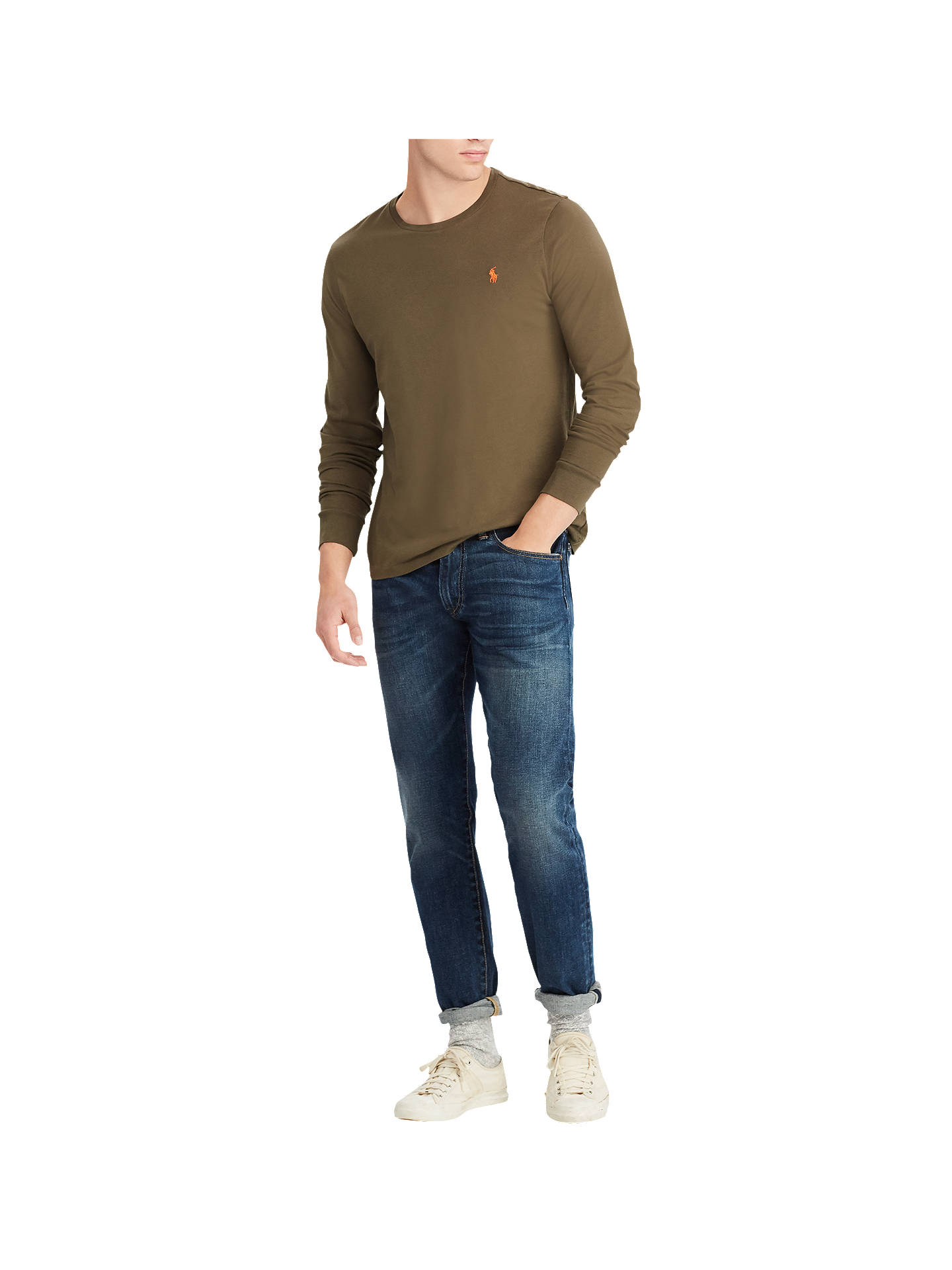 Buy Polo Ralph Lauren Long Sleeve T-Shirt, Expedition Olive, M Online at johnlewis.com