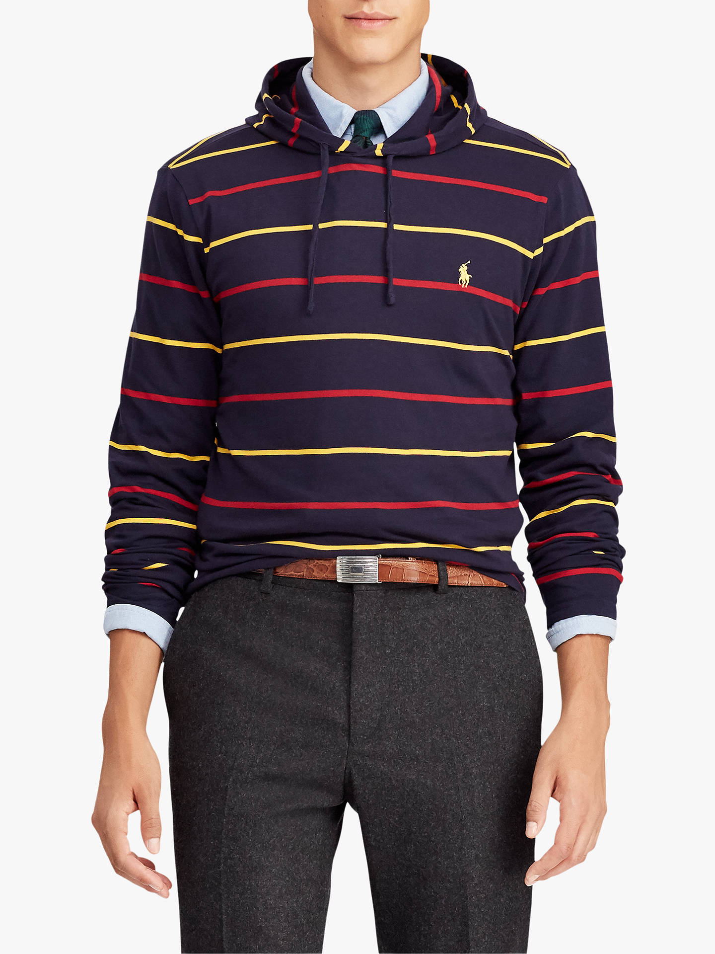 BuyPolo Ralph Lauren Long Sleeve Hooded T-Shirt, Classic Wine/Multi, XL Online at johnlewis.com