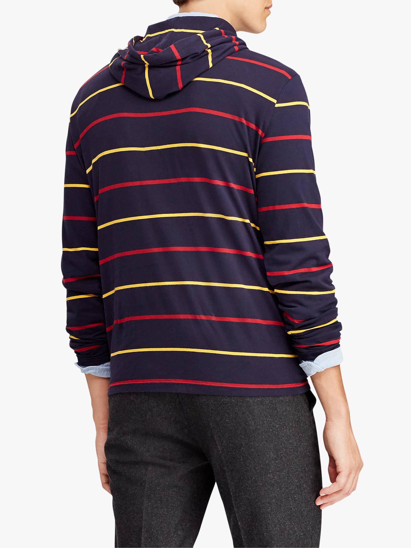 Buy Polo Ralph Lauren Long Sleeve Hooded T-Shirt, Classic Wine/Multi, L Online at johnlewis.com