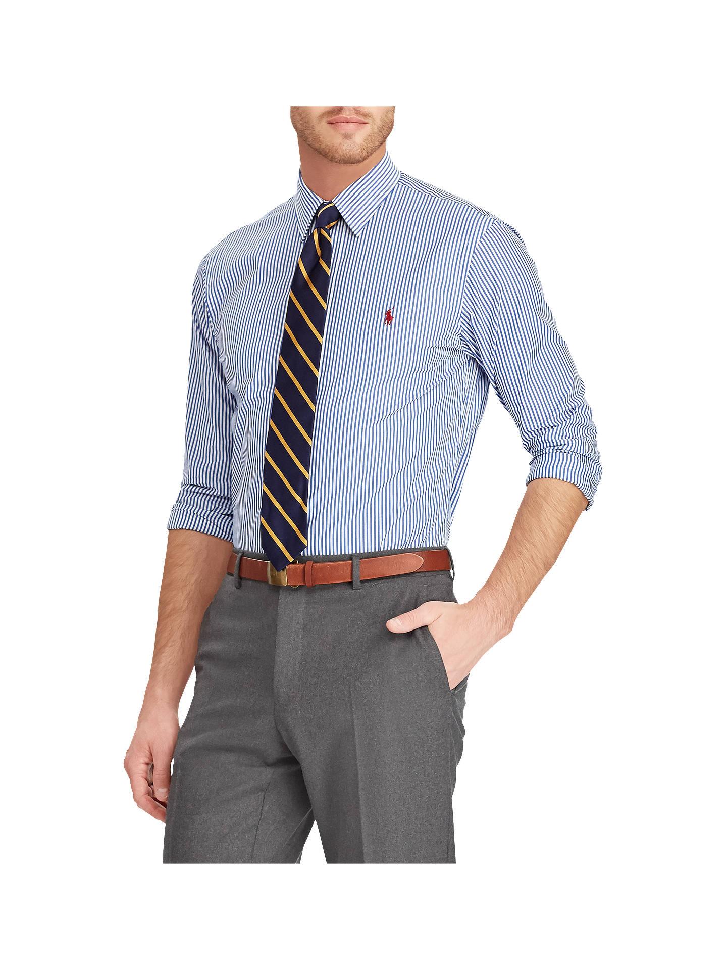 ba391513 Buy Polo Ralph Lauren Poplin Stripe Slim Fit Shirt, Blue/White, XL Online  ...