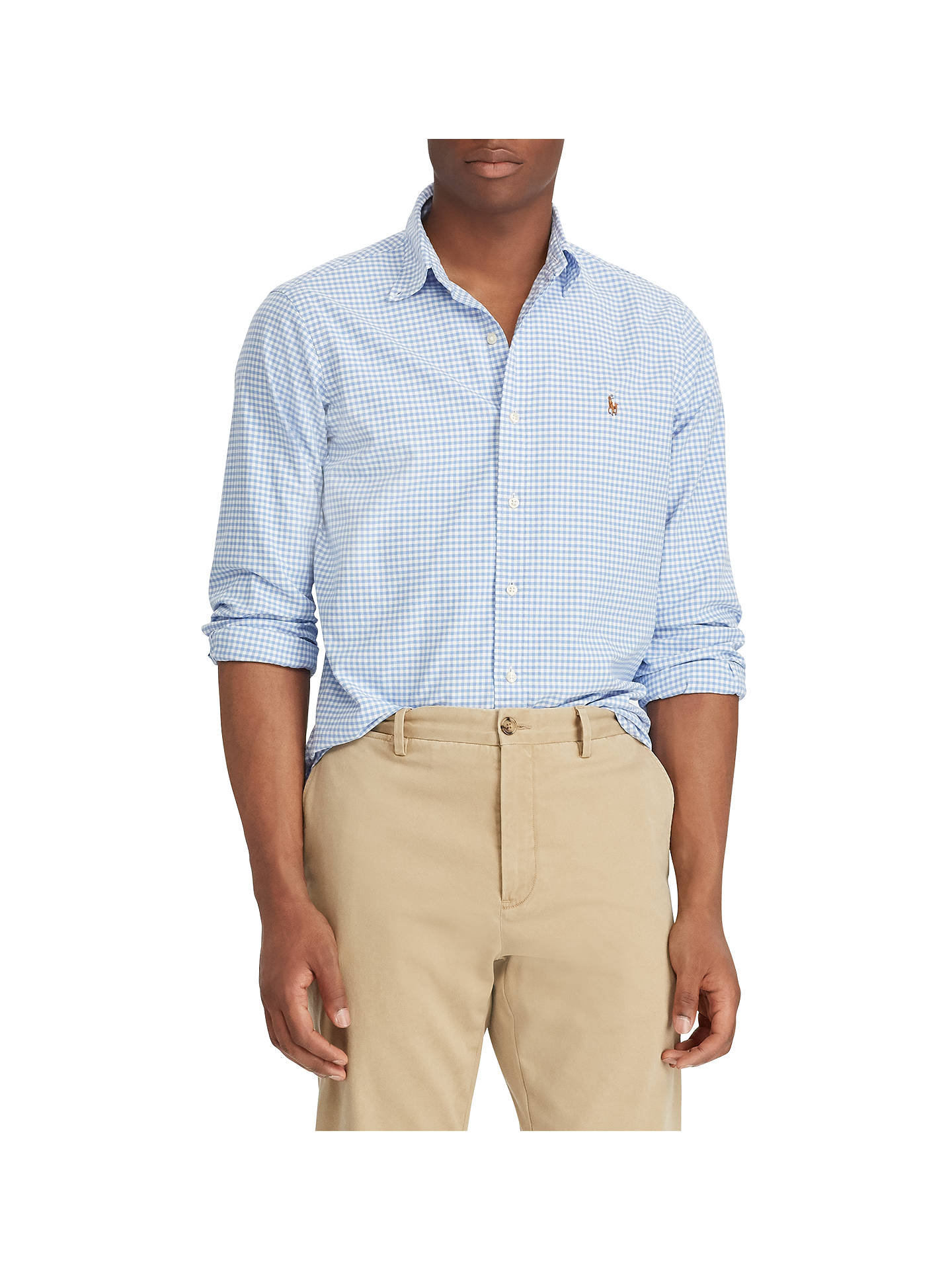 BuyPolo Ralph Lauren Long Sleeve Check Shirt, Steel Blue/White, S Online at johnlewis.com