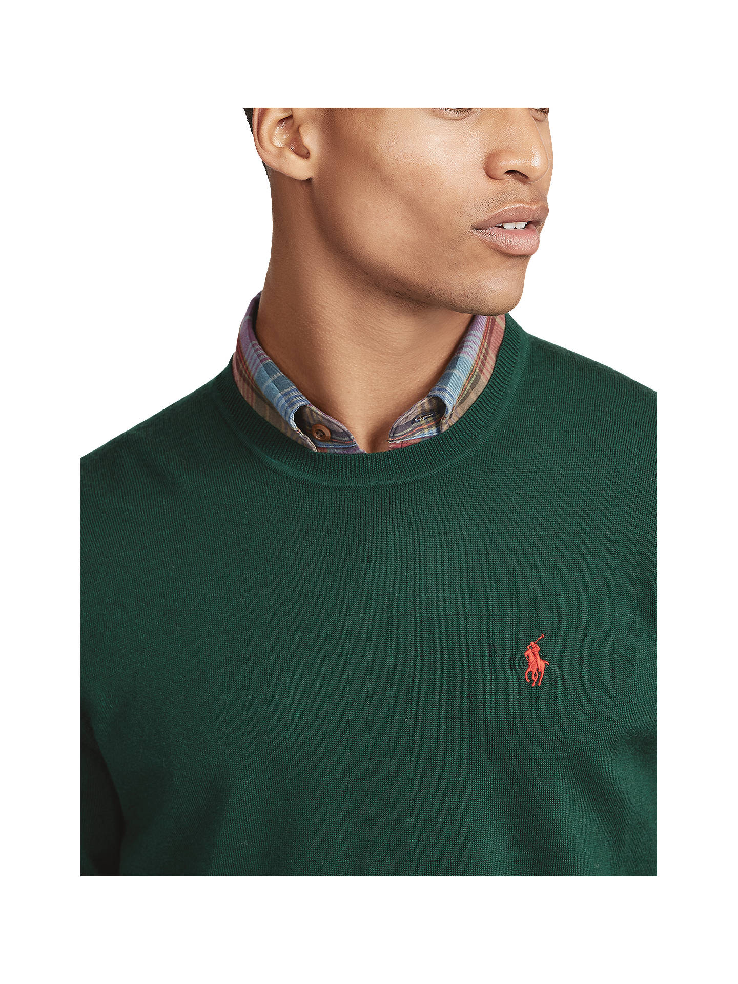 Buy Polo Ralph Lauren Crew Neck Merino Wool Jumper, College Green, L Online at johnlewis.com