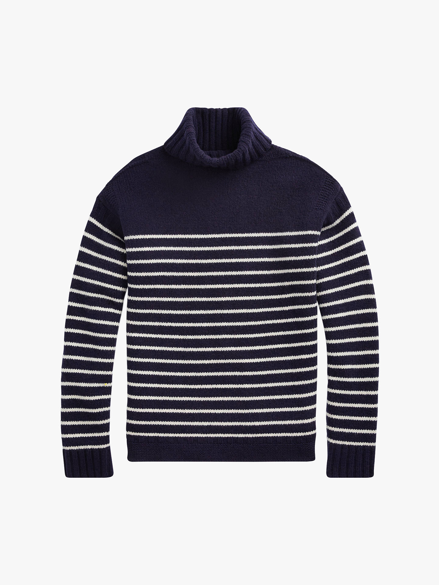 BuyPolo Ralph Lauren Striped Roll Neck Jumper, Navy/Cream, S Online at johnlewis.com