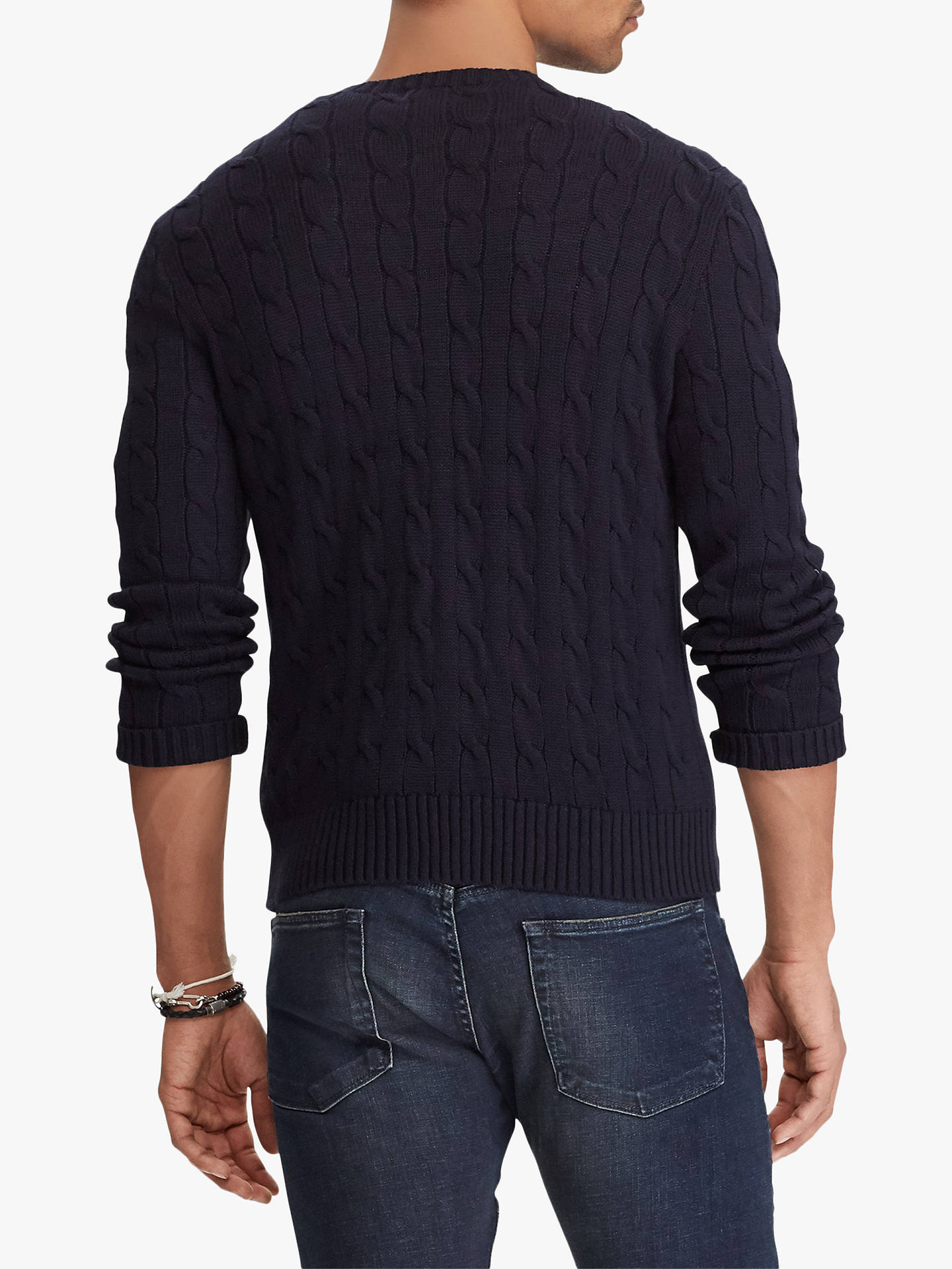 BuyPolo Ralph Lauren Long Sleeve Cable Knit Jumper, Hunter Navy, M Online at johnlewis.com