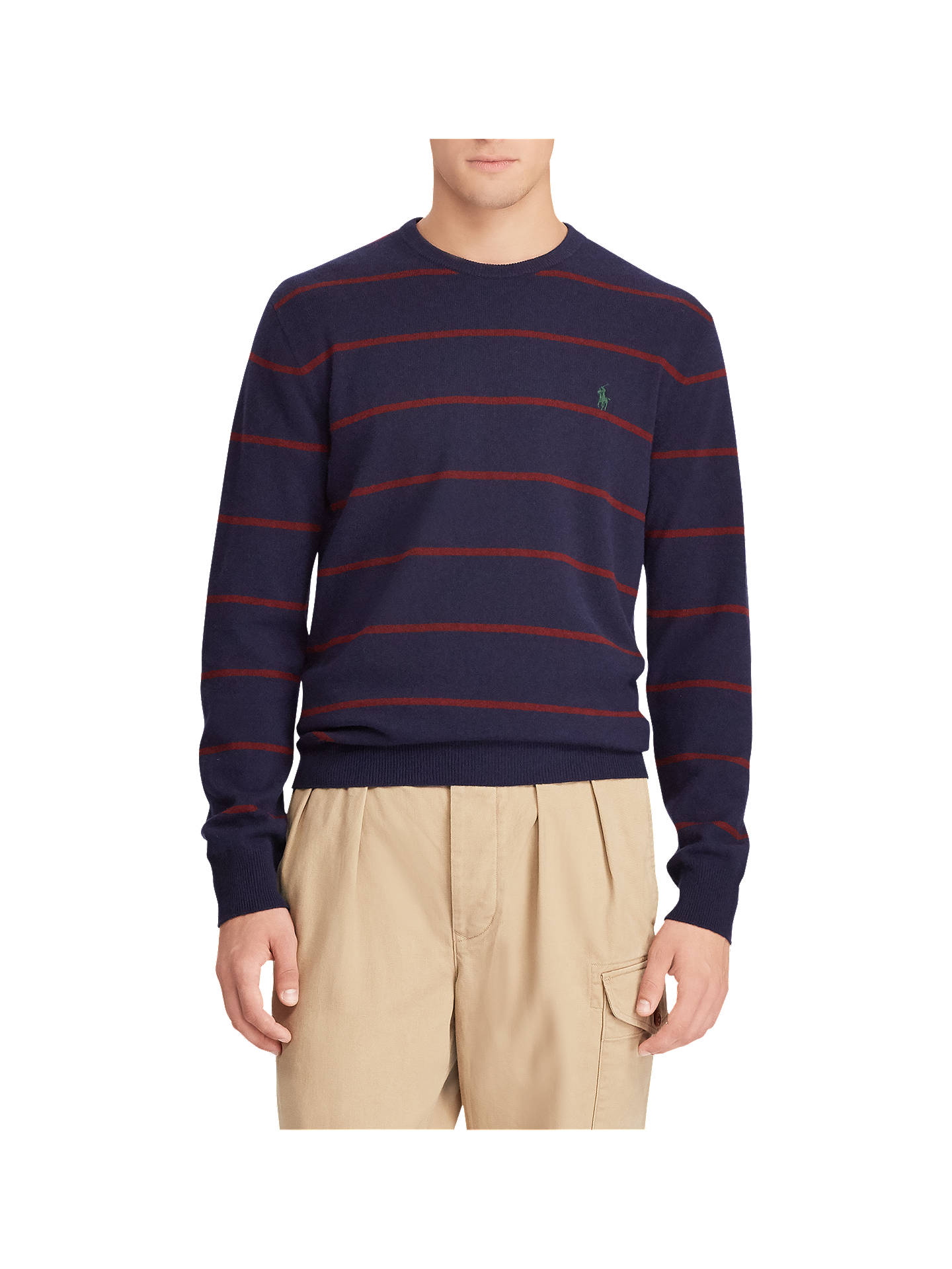 83992313 Buy Polo Ralph Lauren Wool Striped Jumper, Hunter Navy/Wine, M Online at ...