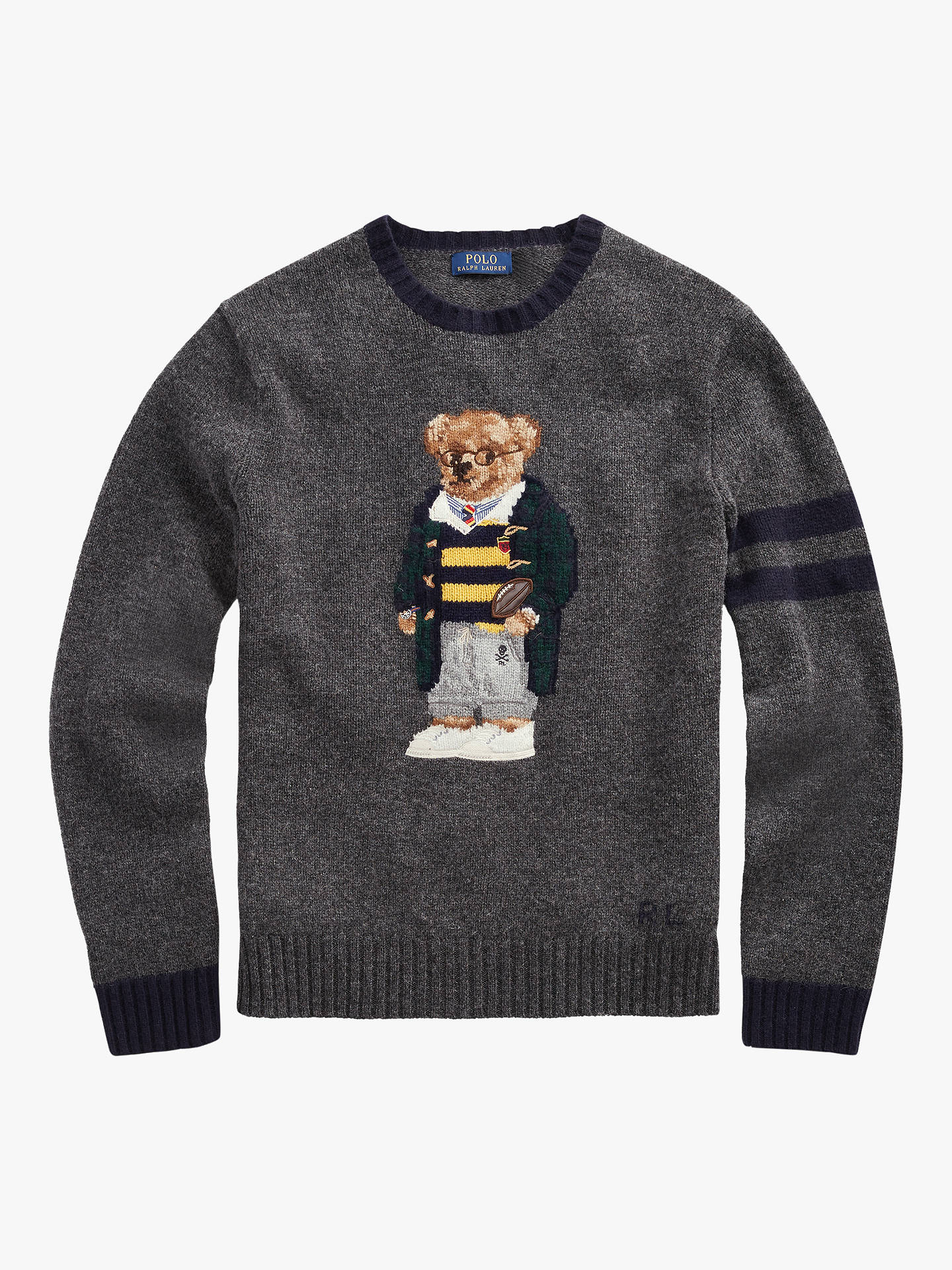 BuyPolo Ralph Lauren Polo Bear Jumper, Grey Heather, S Online at johnlewis.com