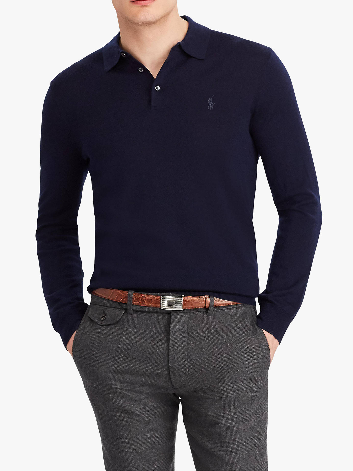 e9398d91d Buy Polo Ralph Lauren Long Sleeve Knitted Polo Shirt, Hunter Navy, M Online  at ...