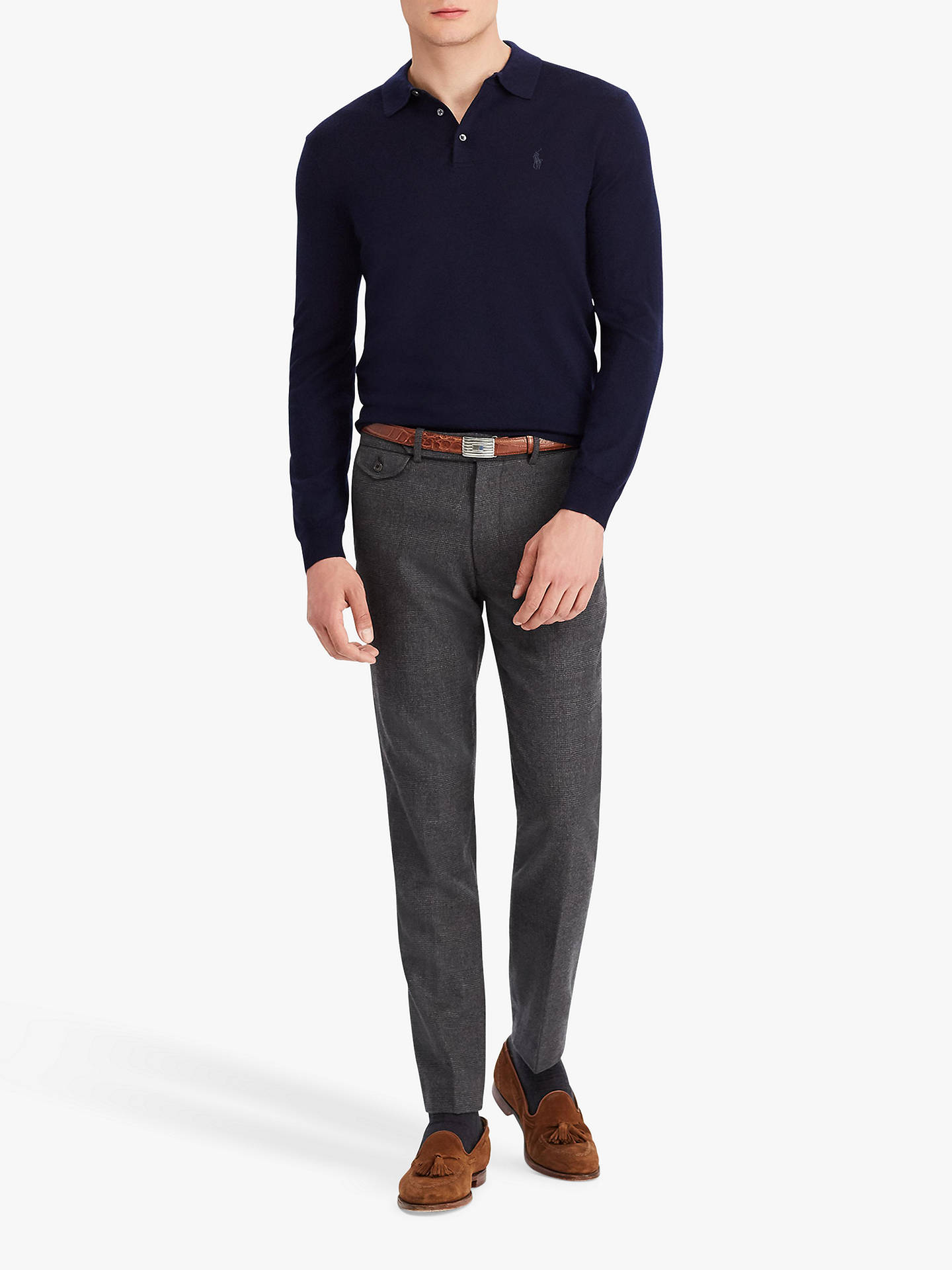 BuyPolo Ralph Lauren Long Sleeve Knitted Polo Shirt, Hunter Navy, M Online at johnlewis.com