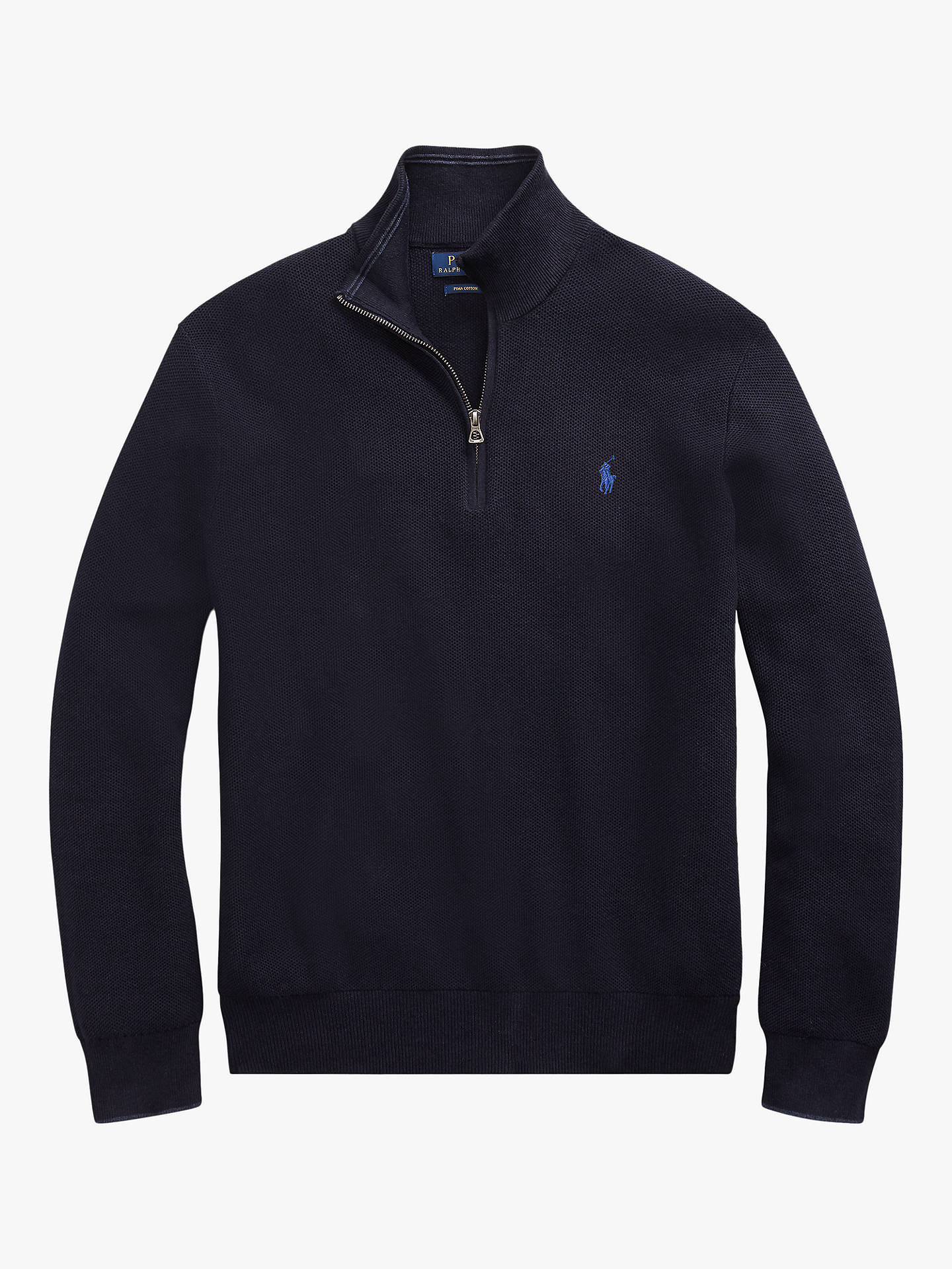 Buy Polo Ralph Lauren Half Zip Textured Jumper, Navy Heather, S Online at johnlewis.com