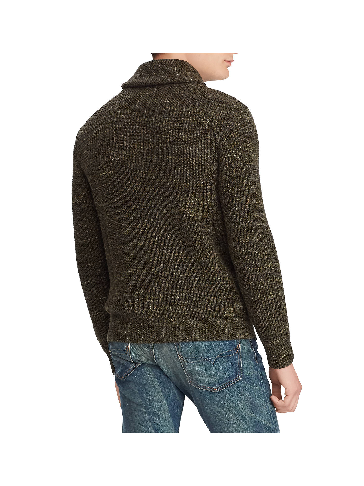 BuyPolo Ralph Lauren Shawl-Collar Cardigan, Olive Marl, L Online at johnlewis.com