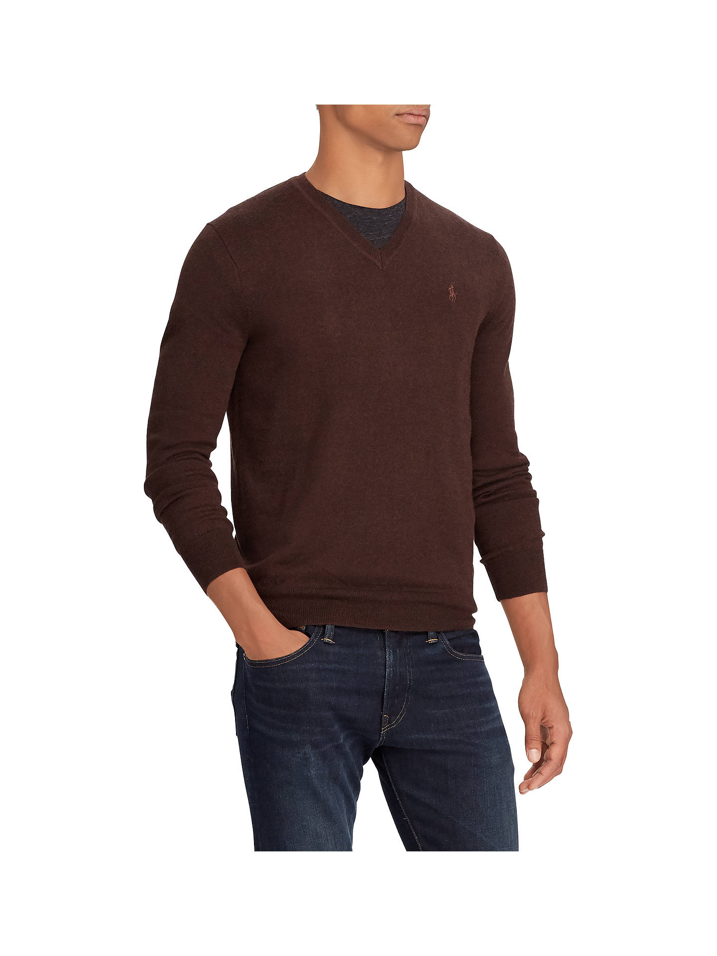 BuyPolo Ralph Lauren Wool V-Neck Jumper, Choc Brown Heather, XL Online at johnlewis.com