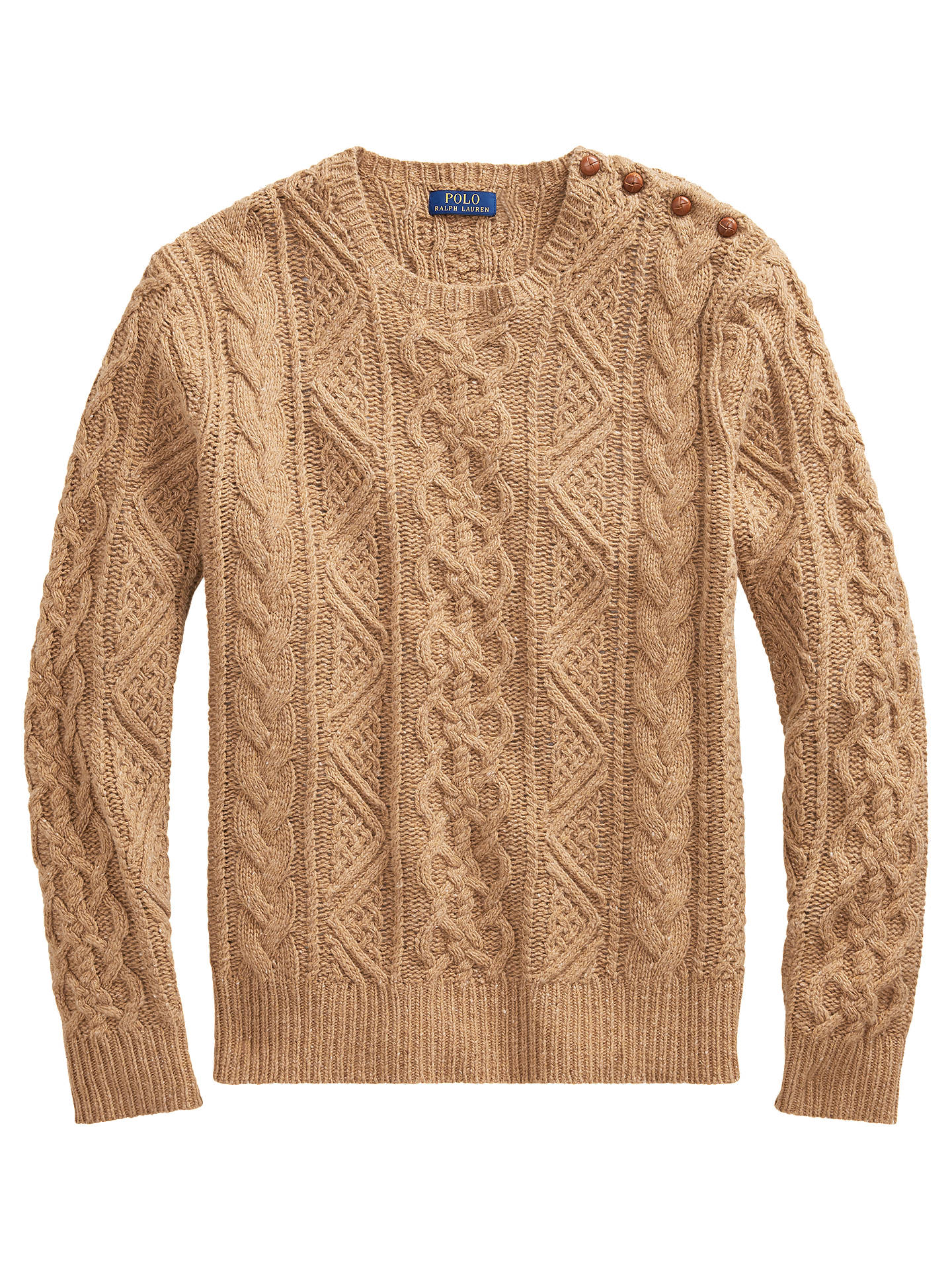 BuyPolo Ralph Lauren Button Cable Knit Jumper, Camel Donegal, XL Online at johnlewis.com