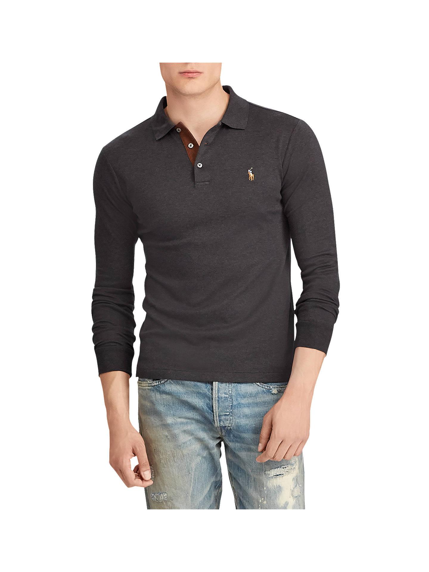 b8cc200d6874 Polo Ralph Lauren Long Sleeve Mesh Polo Shirt, Dark Granite Heather ...