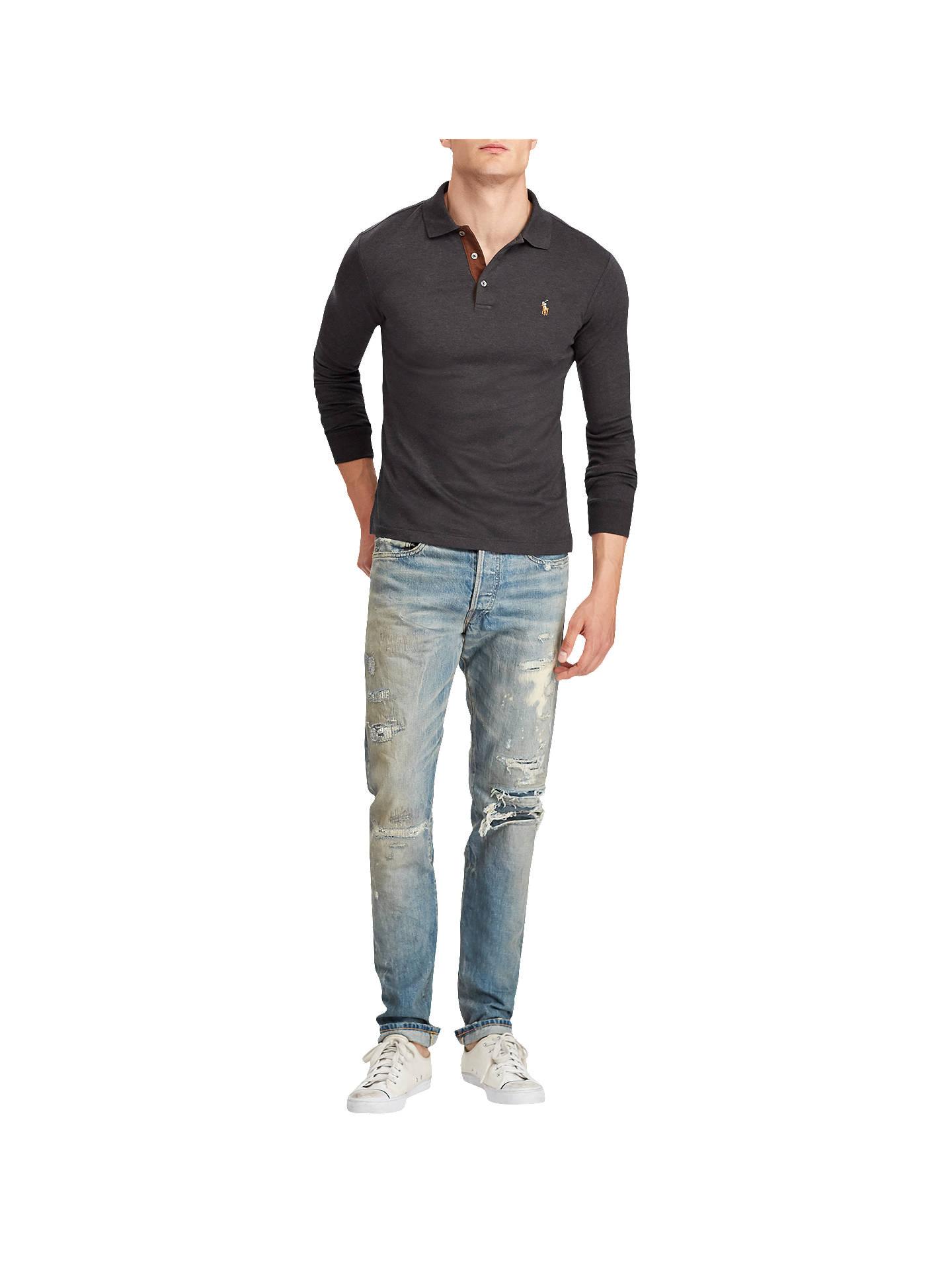 091f0674 Polo Ralph Lauren Long Sleeve Mesh Polo Shirt, Dark Granite Heather ...