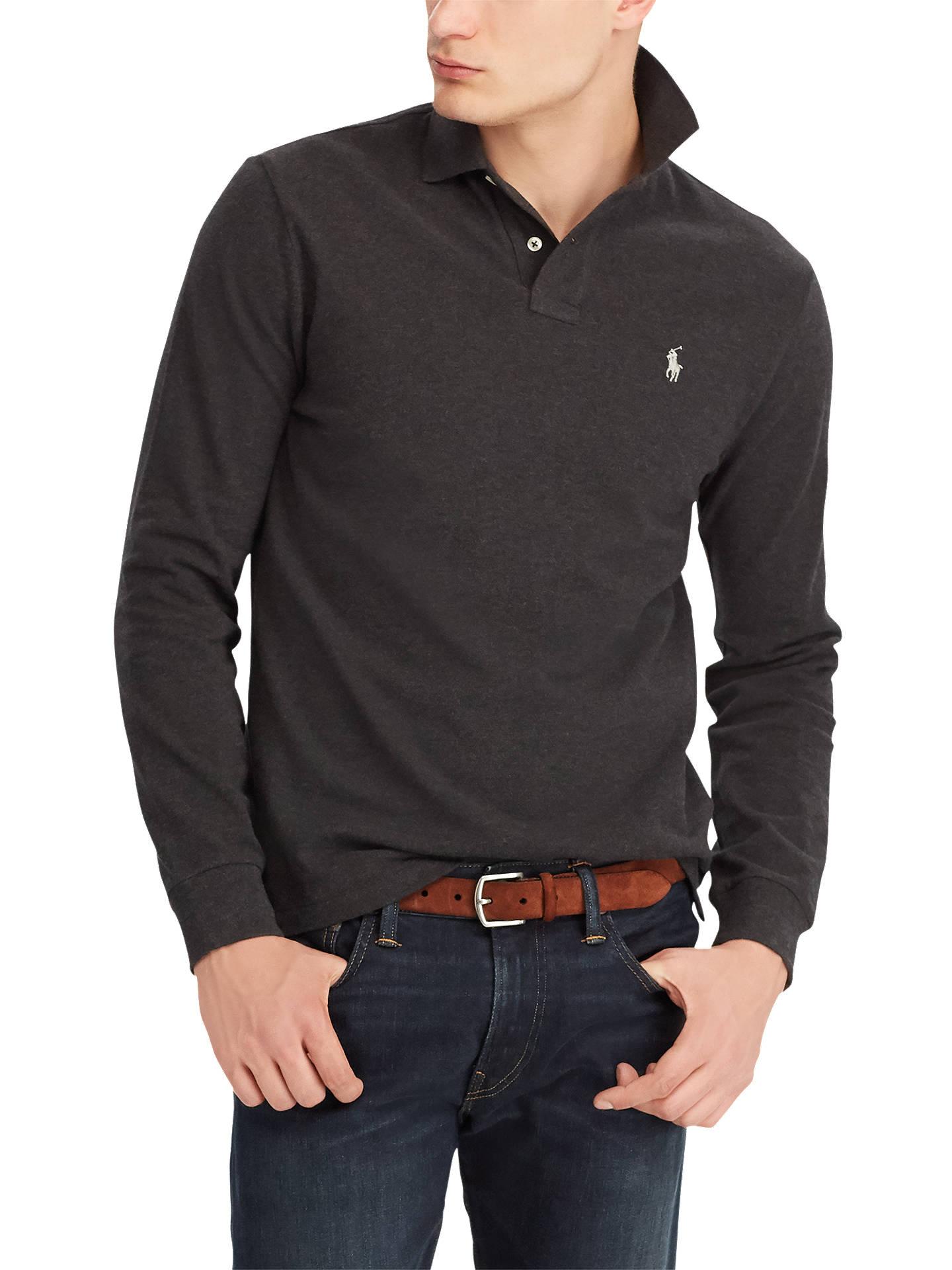 Sleeve Lauren Ralph Pima Long ShirtDark Polo Mesh Granite N8wOny0vm