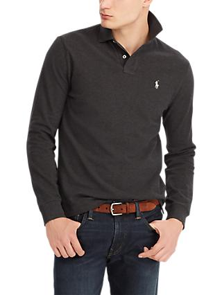84fb85d8b33d Polo Ralph Lauren Long Sleeve Pima Mesh Polo Shirt, Dark Granite Heather