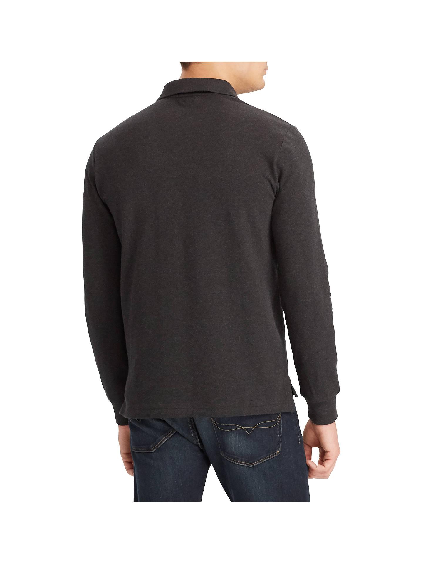 23e4ef33 Polo Ralph Lauren Long Sleeve Pima Mesh Polo Shirt, Dark Granite ...