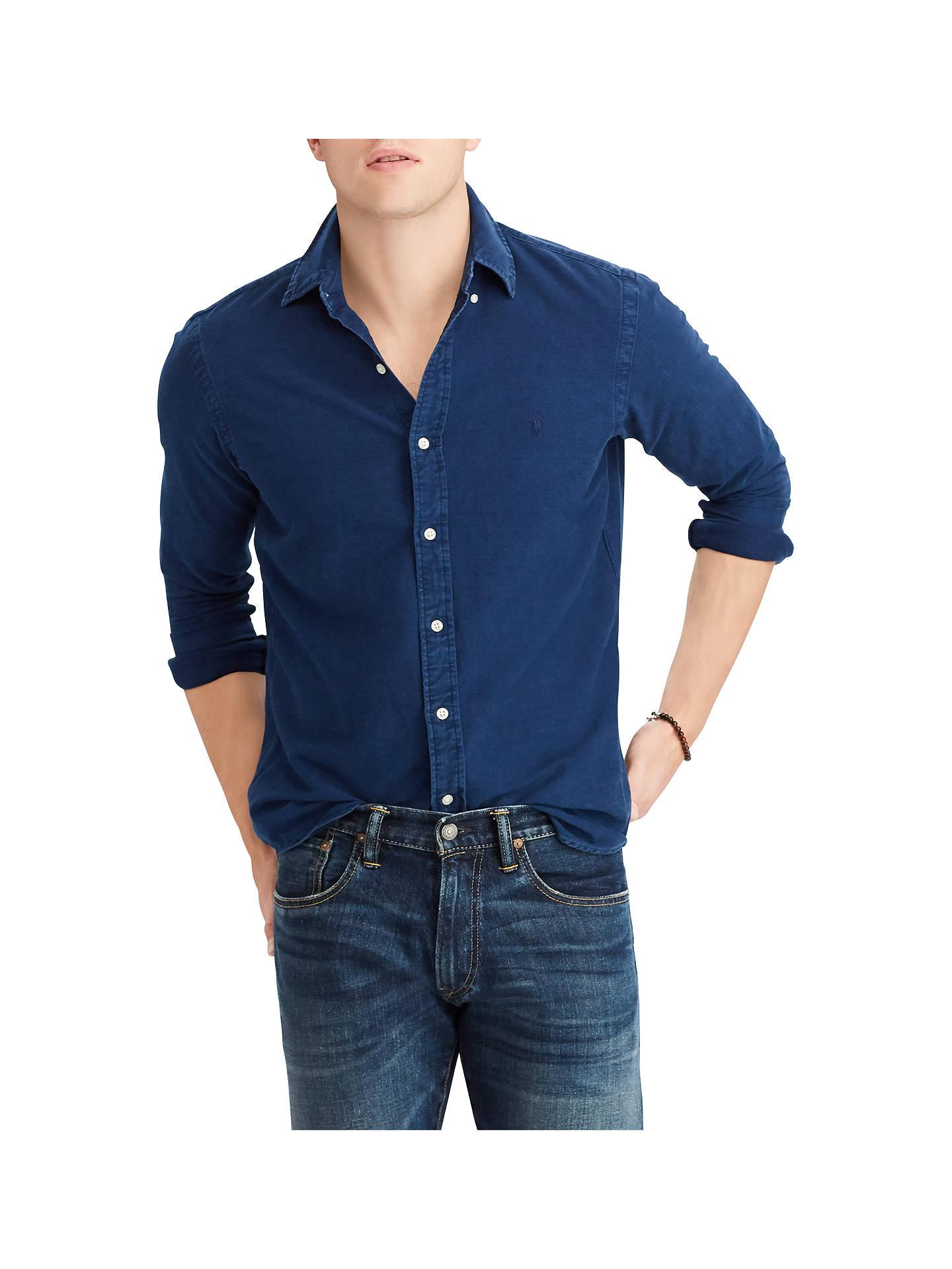 1d9e5624 Buy Polo Ralph Lauren Long Sleeve Sport Washed Shirt, Indigo, XL Online at  johnlewis ...