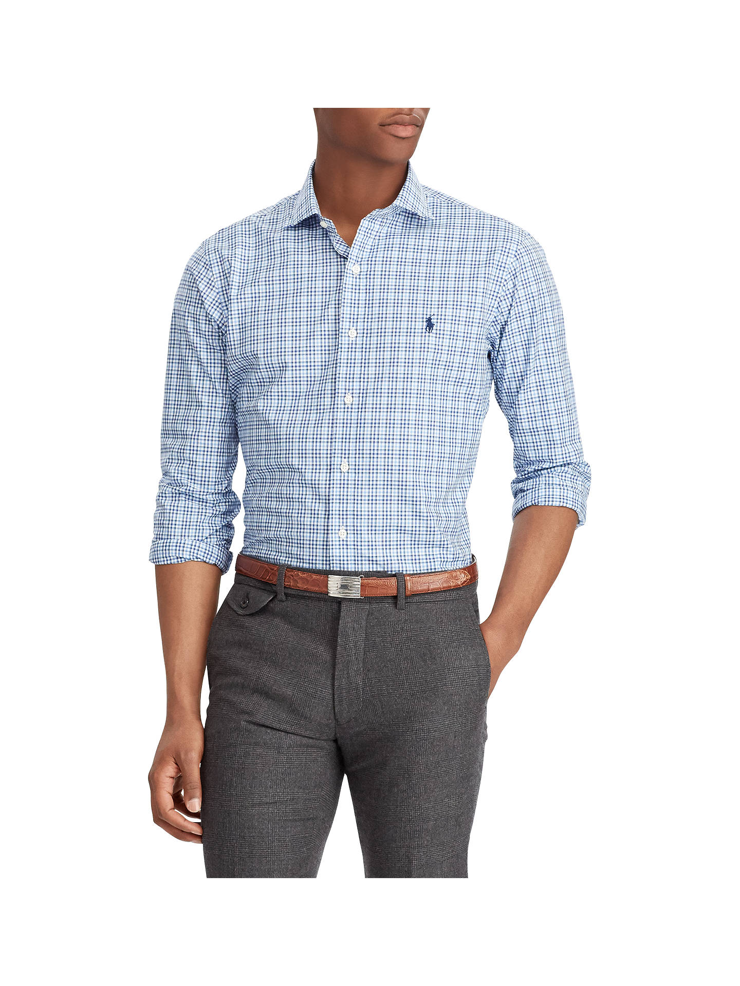 BuyPolo Ralph Lauren Long Sleeve Sport Check Shirt, Azul/White, XXL Online at johnlewis.com