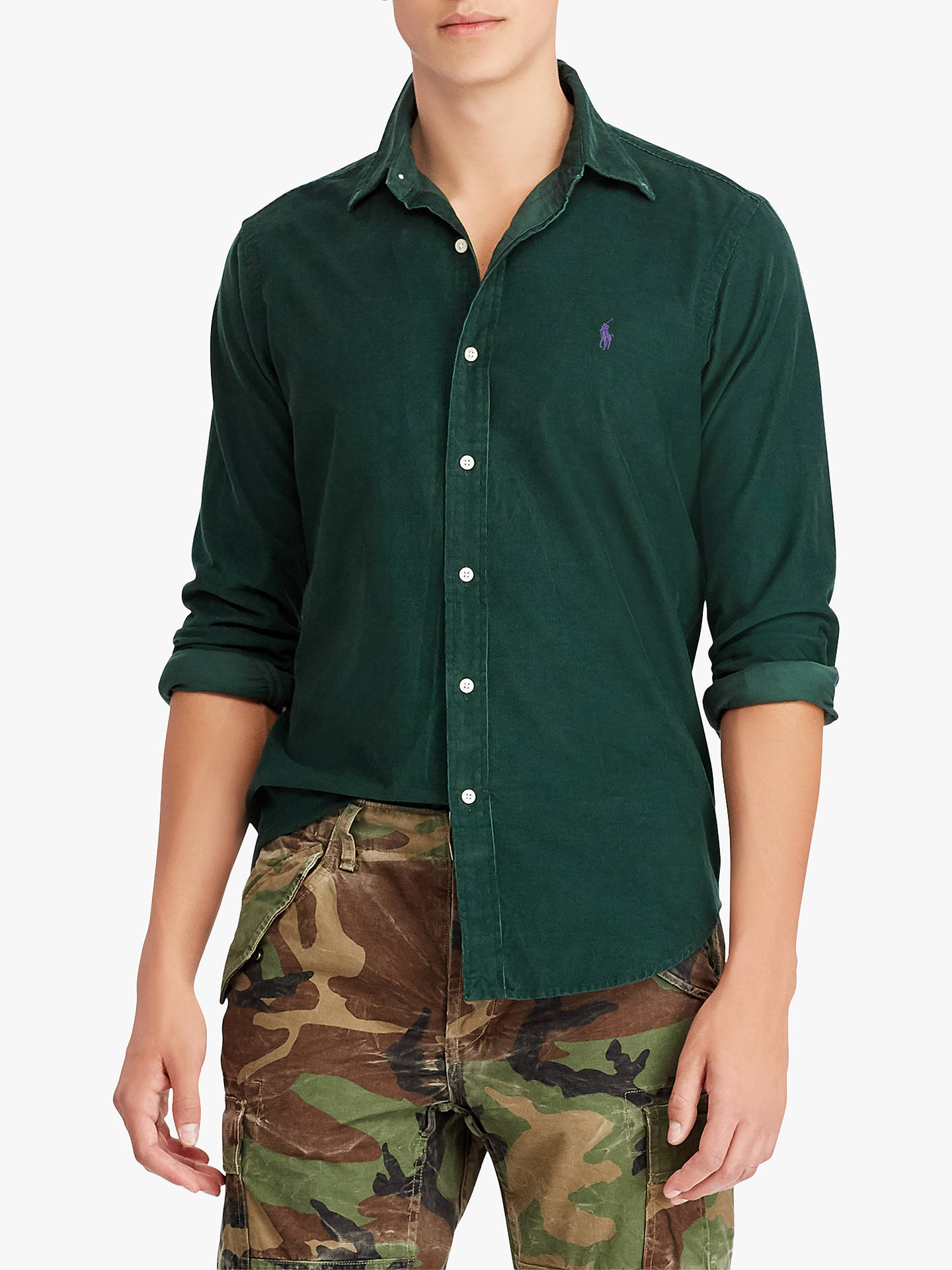 05ee8864 Buy Polo Ralph Lauren Corduroy Sports Shirt, College Green, S Online at  johnlewis.