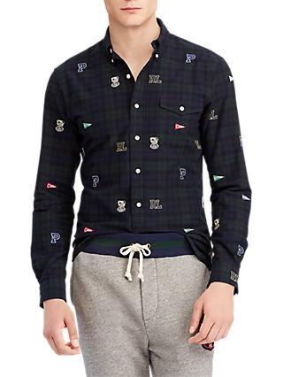 Polo Ralph Lauren Long Sleeve Embroidered Sport Shirt,Forest/Navy Multi