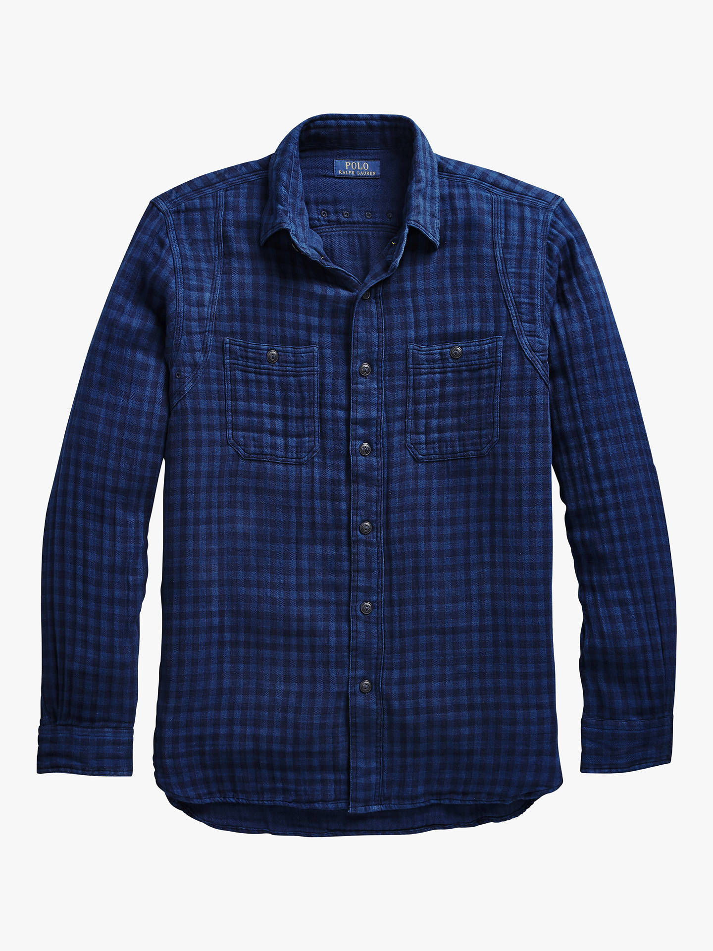 Buy Polo Ralph Lauren Long Sleeve Sport Two Pocket Check Shirt, Indigo/Fed Blue, S Online at johnlewis.com