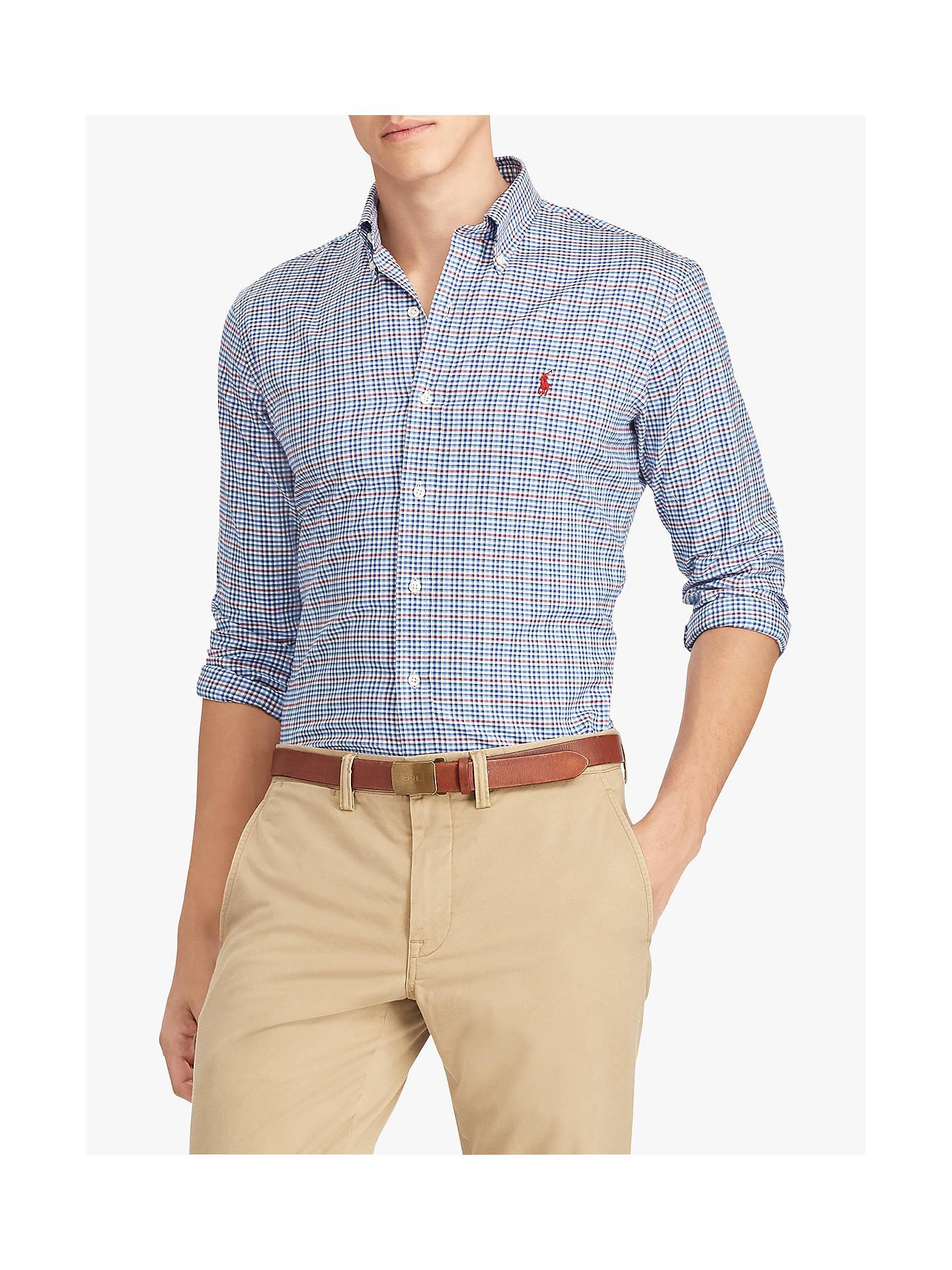 f3ea425c81ab Buy Polo Ralph Lauren Long Sleeve Sport Check Shirt, Cadet Blue/White, L ...