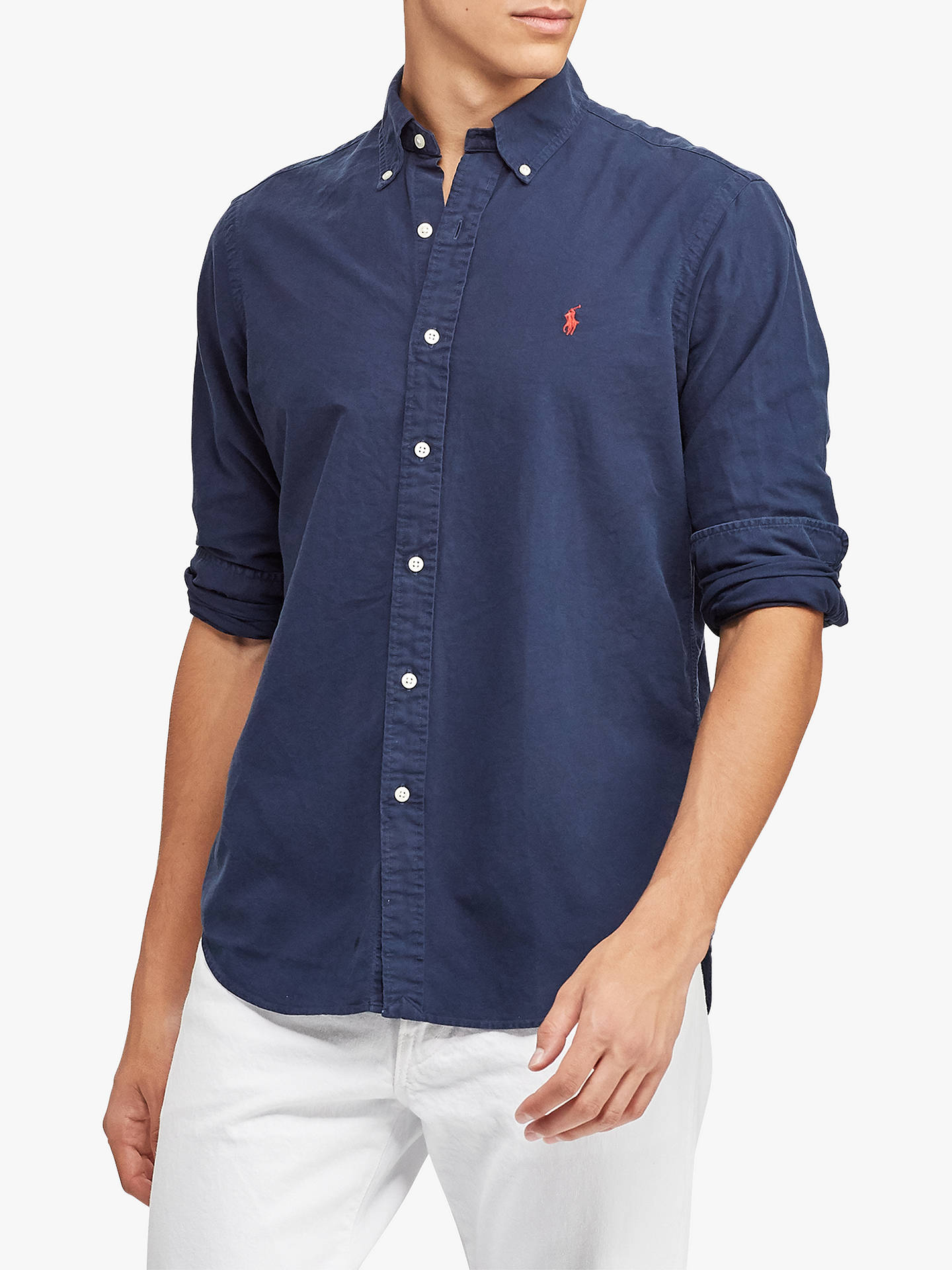 dc12af85 Buy Polo Ralph Lauren Long Sleeve Slim Fit Button Down Shirt, Navy, S  Online ...