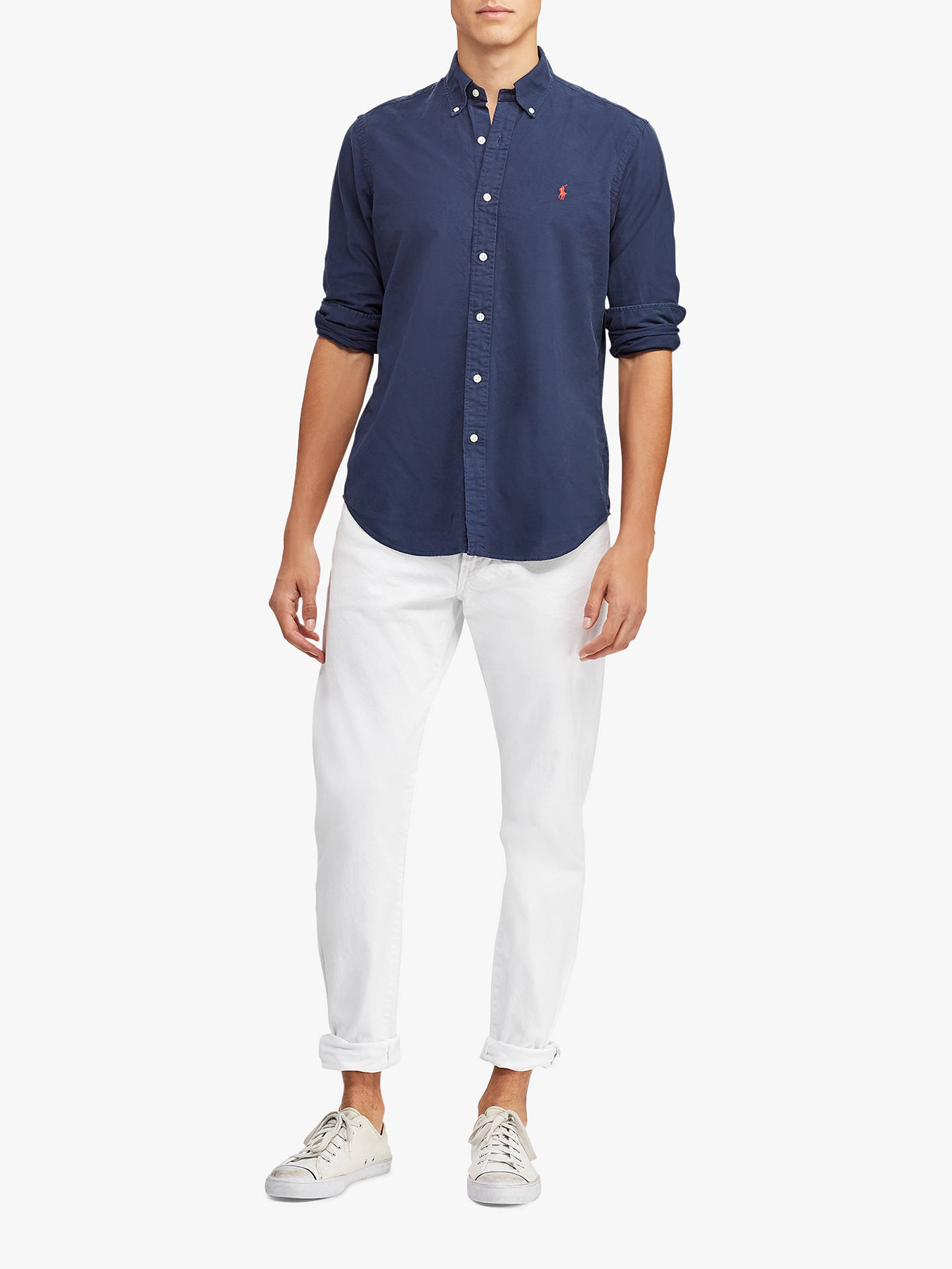 Buy Polo Ralph Lauren Long Sleeve Slim Fit  Button Down Shirt, Navy, M Online at johnlewis.com