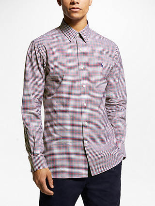 Buy Polo Ralph Lauren Long Sleeve Sport Shirt, Raspberry/Mocha, L Online at johnlewis.com