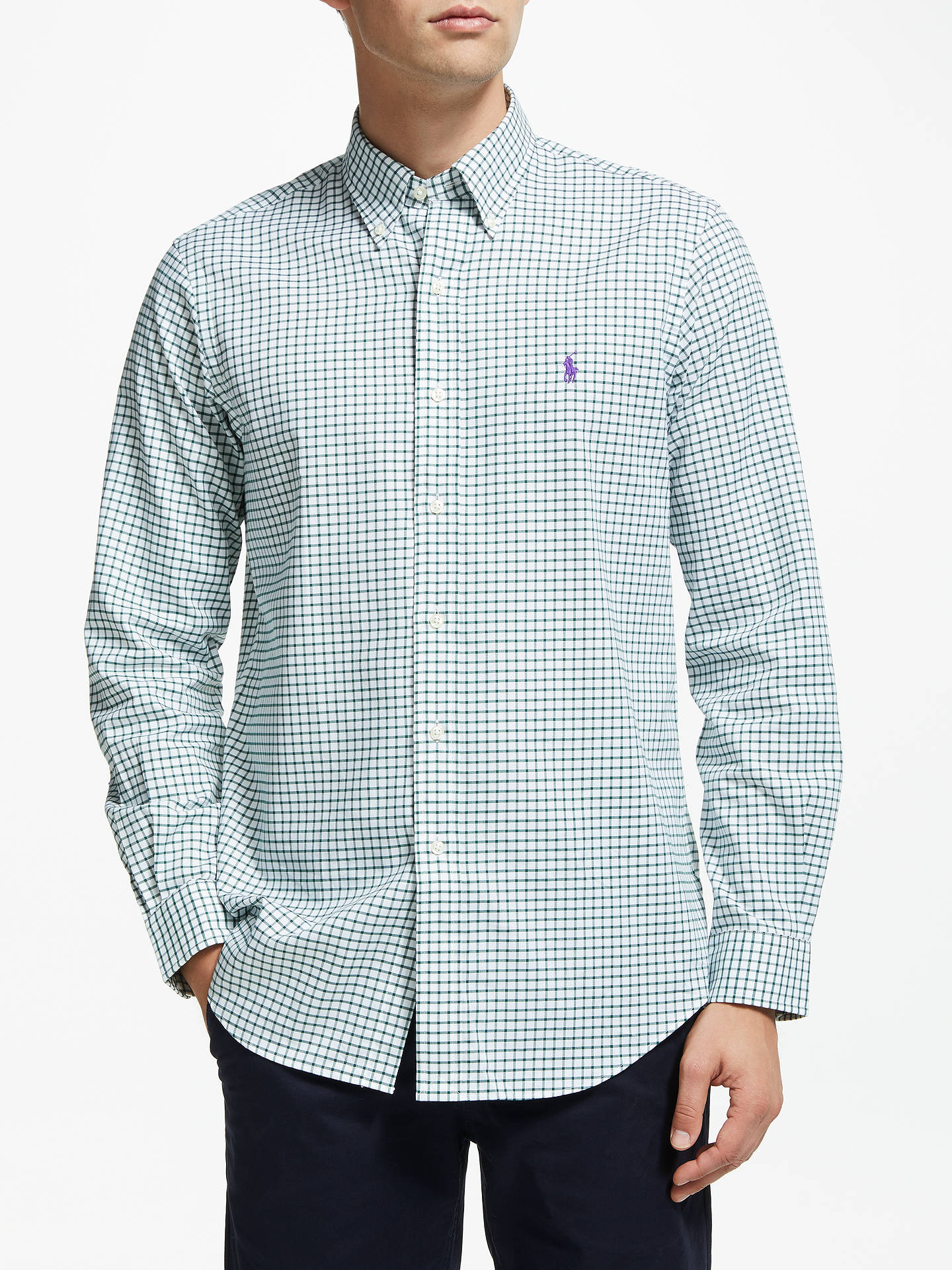 Buy Polo Ralph Lauren Check Sports Shirt, Evergreen/White, M Online at johnlewis.com