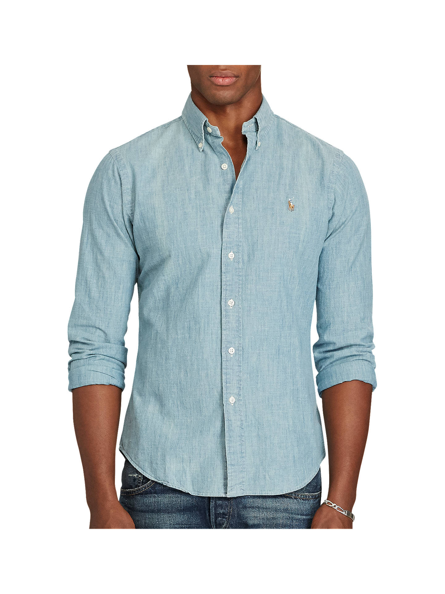 45e7f7cd9 Buy Polo Ralph Lauren Chambray Slim Fit Shirt, Chambray, L Online at  johnlewis.